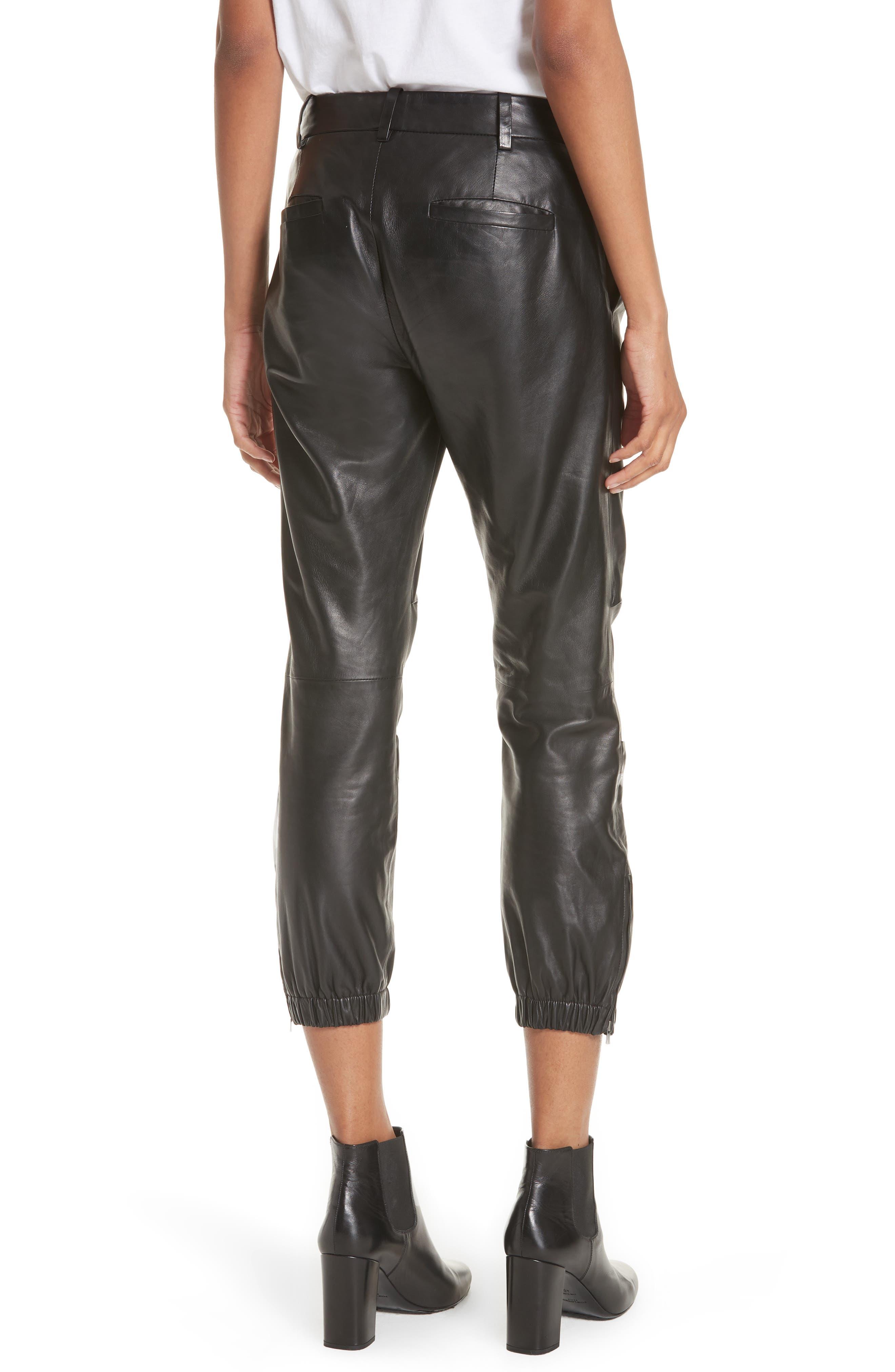 NILI LOTAN, French Military Leather Crop Pants, Alternate thumbnail 2, color, BLACK