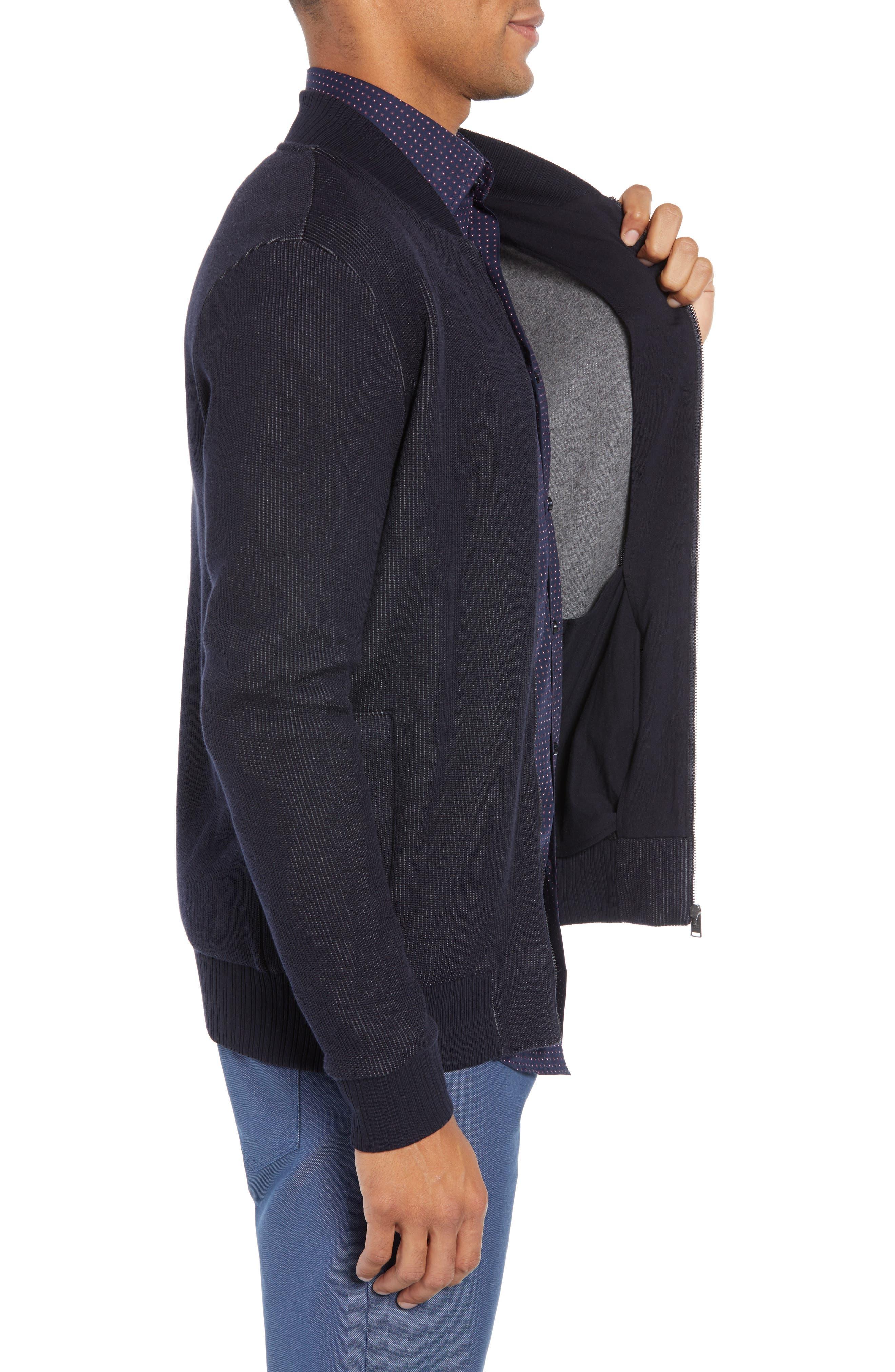 BOSS, Salea Slim Fit Sweatshirt Jacket, Alternate thumbnail 4, color, BLUE