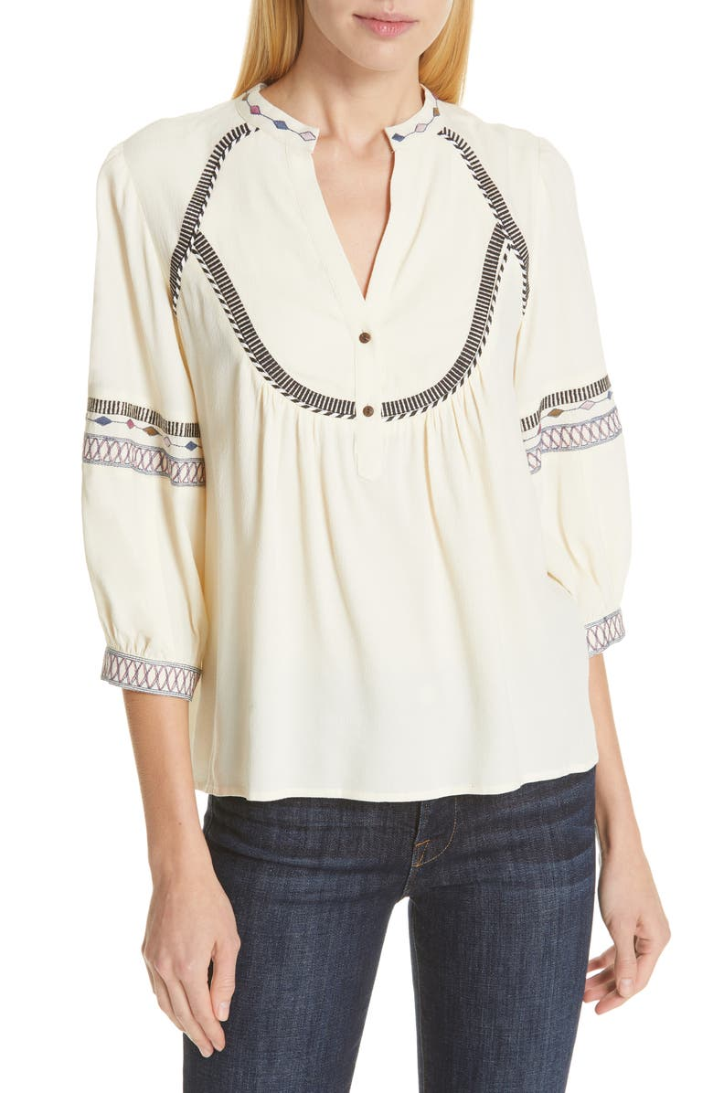Ba&sh Tops PLUME EMBROIDERED TOP