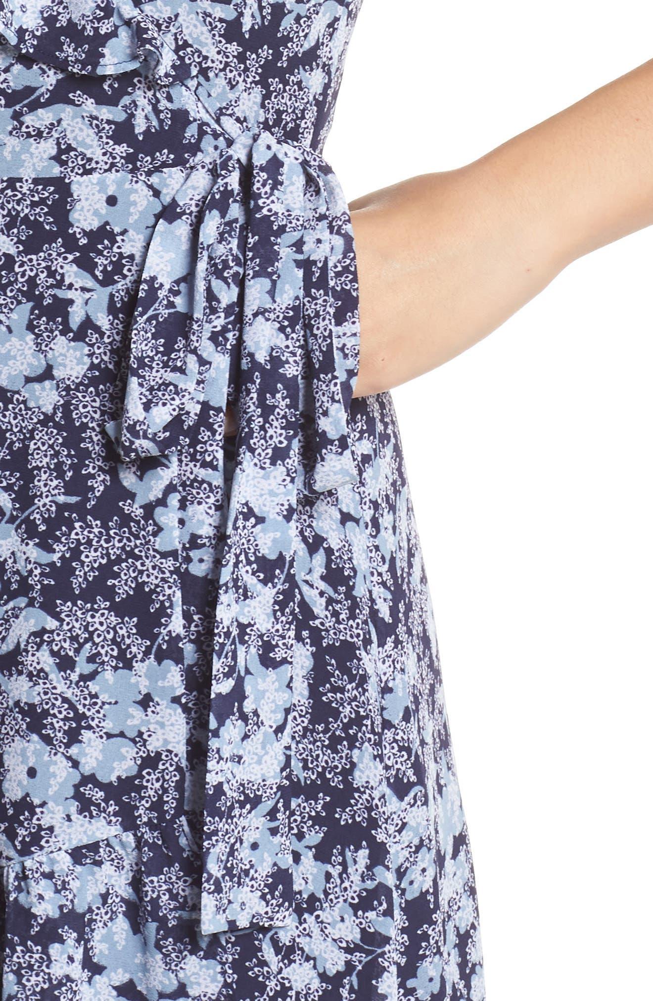 MICHAEL MICHAEL KORS, Ruffle Wrap Dress, Alternate thumbnail 5, color, TRUE NAVY/CHAMBRAY