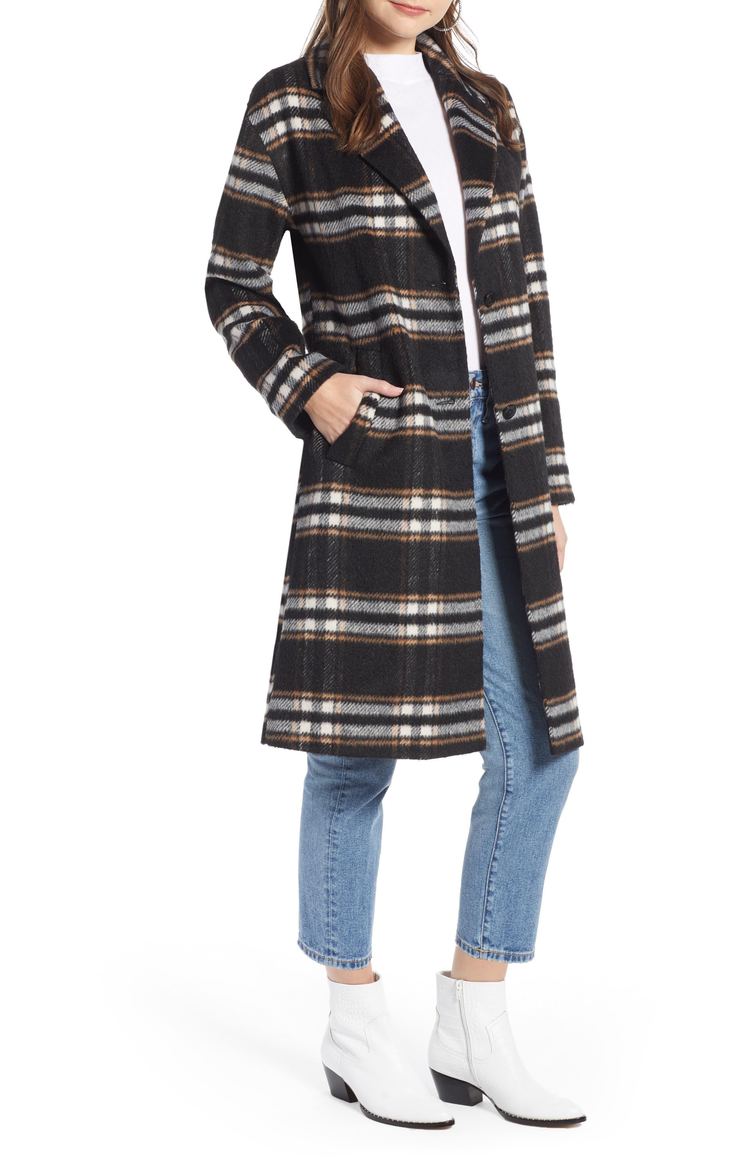 SOMETHING NAVY Longline Plaid Coat, Main, color, BLACK PLAID