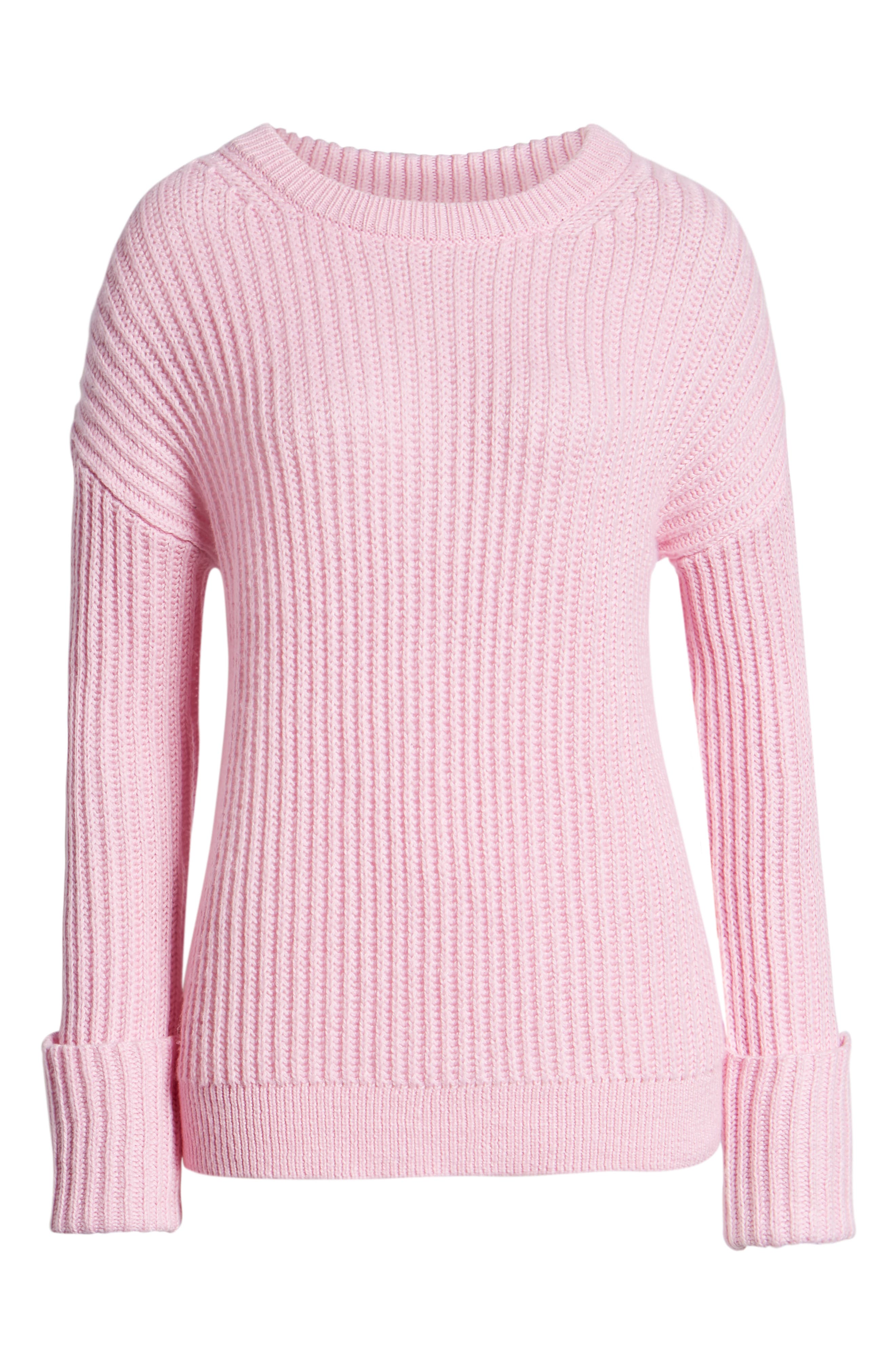 CASLON<SUP>®</SUP>, Cuffed Sleeve Shaker Sweater, Alternate thumbnail 6, color, PINK FLOWER