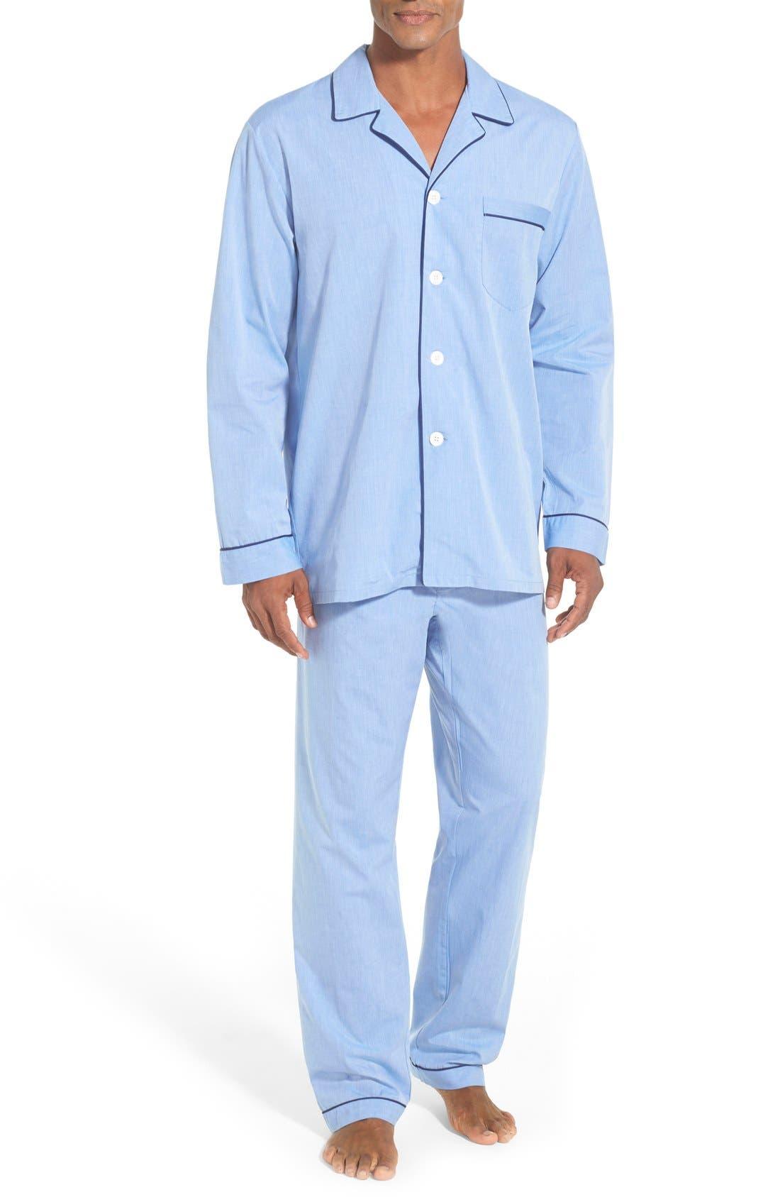 MAJESTIC INTERNATIONAL, Cotton Pajamas, Main thumbnail 1, color, BLUE