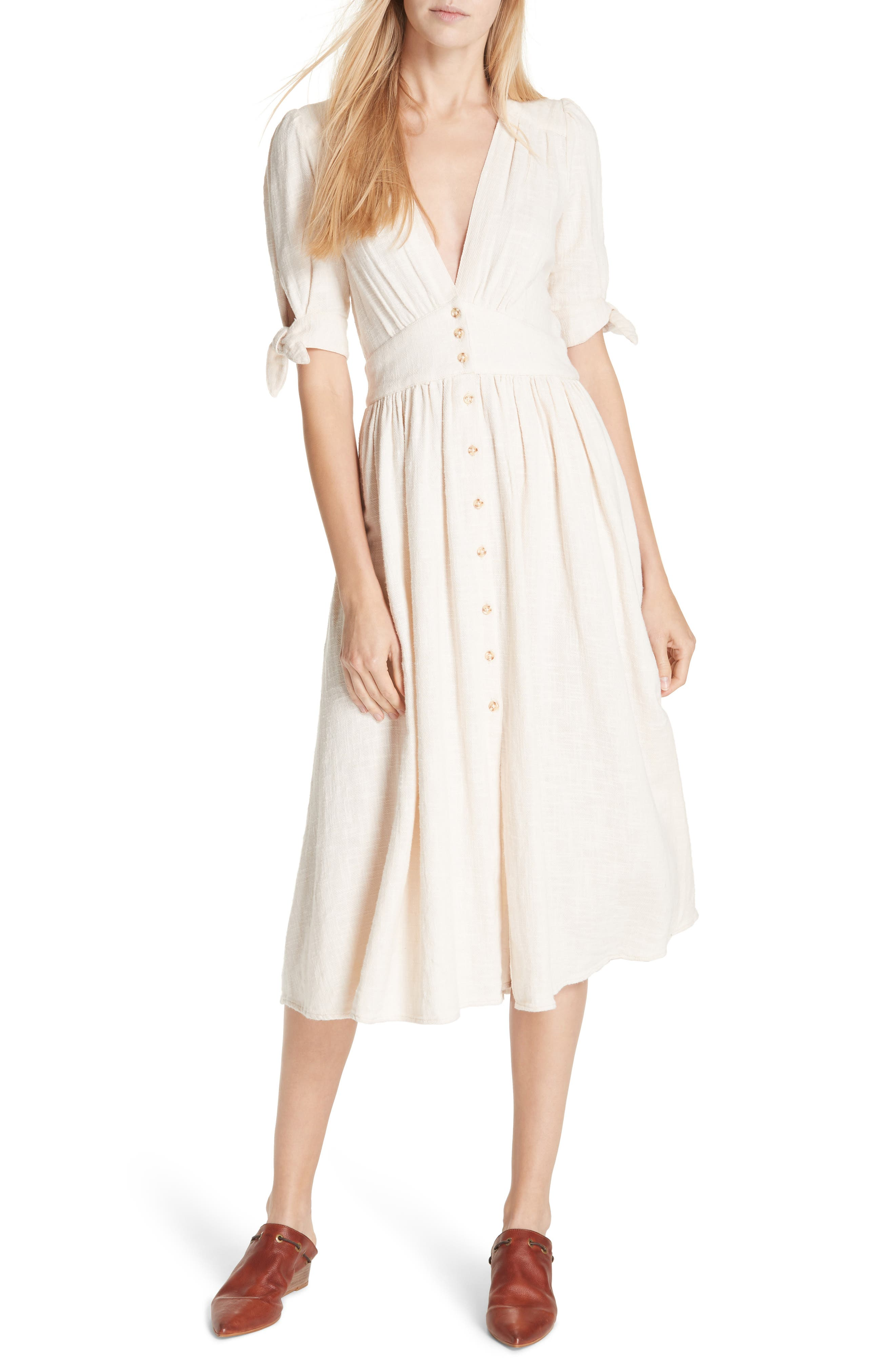 FREE PEOPLE, Love of My Life Midi Dress, Main thumbnail 1, color, IVORY