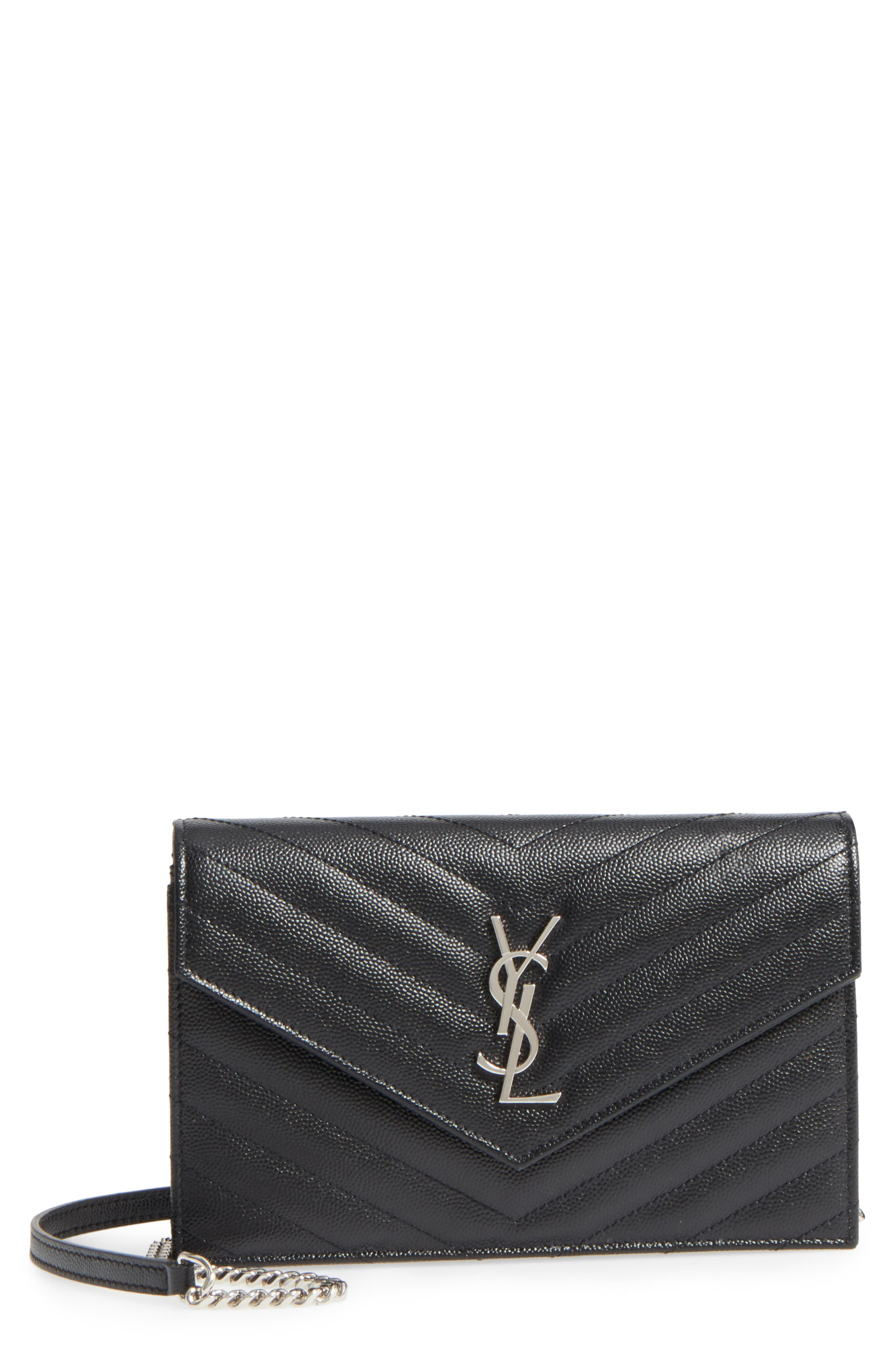 SAINT LAURENT, Quilted Calfskin Leather Wallet on a Chain, Main thumbnail 1, color, NOIR
