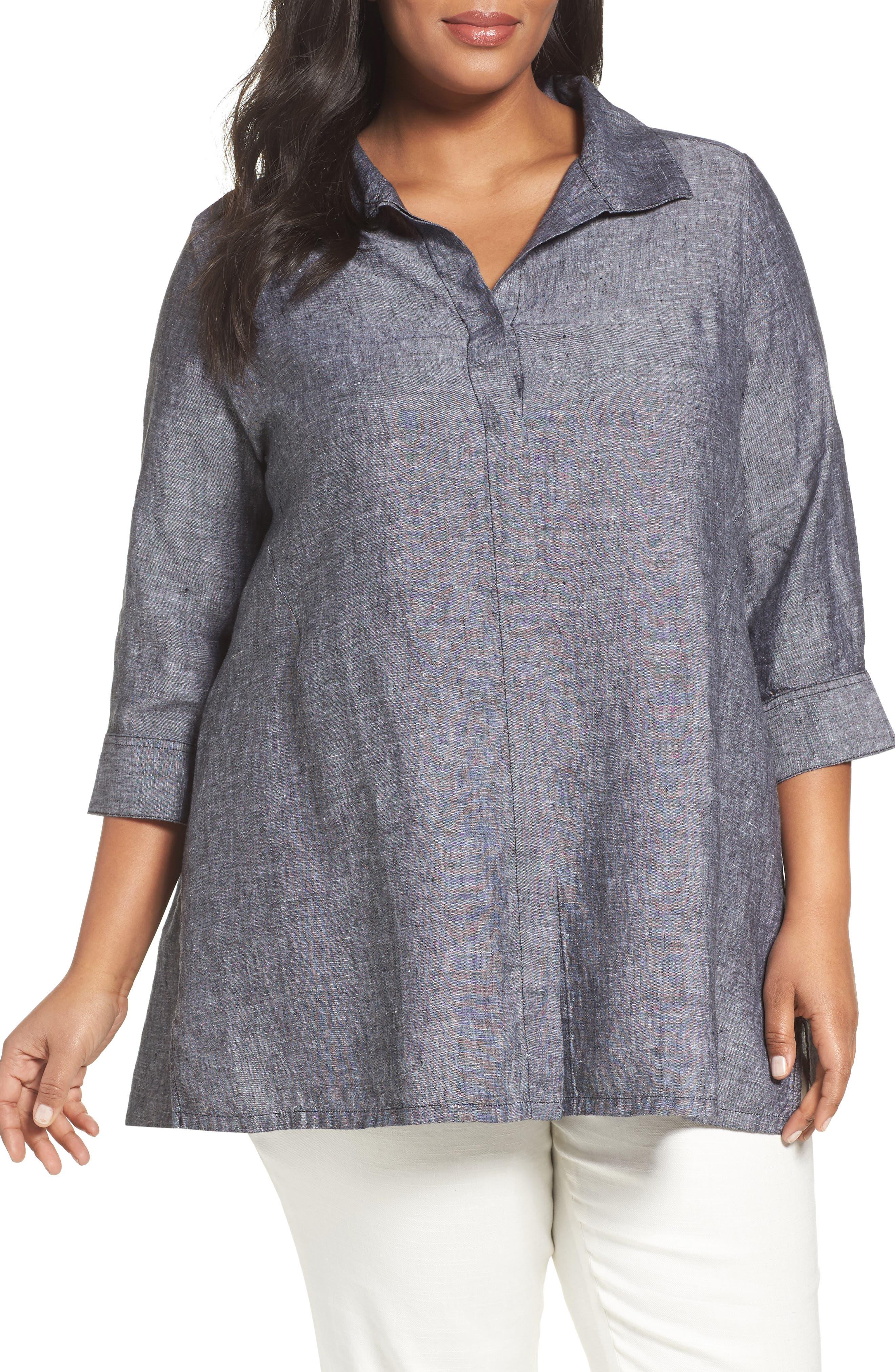 FOXCROFT, Chambray Linen Tunic Shirt, Main thumbnail 1, color, BLACK