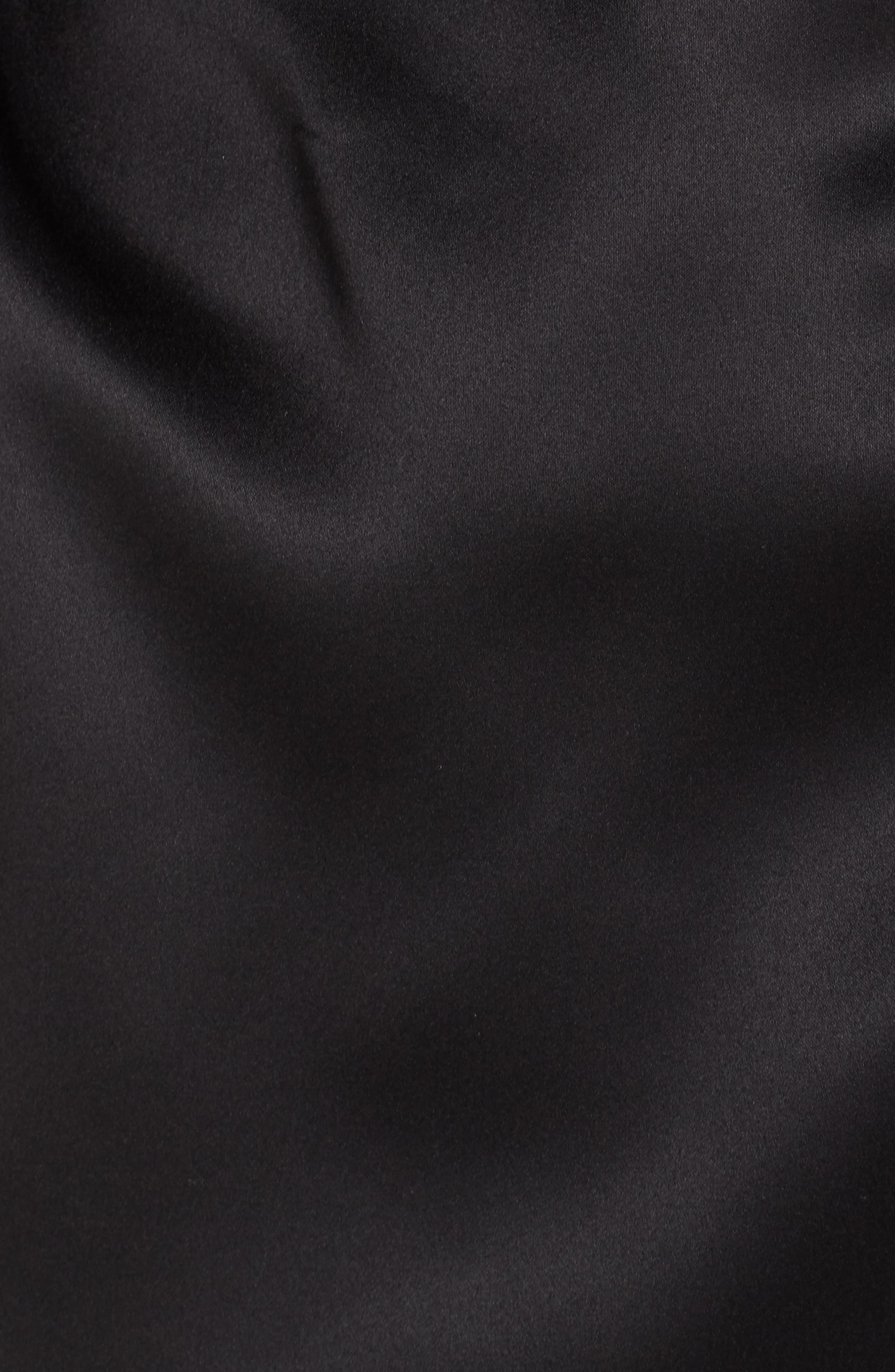 NATORI, Feathers Satin Wrap, Alternate thumbnail 5, color, BLACK