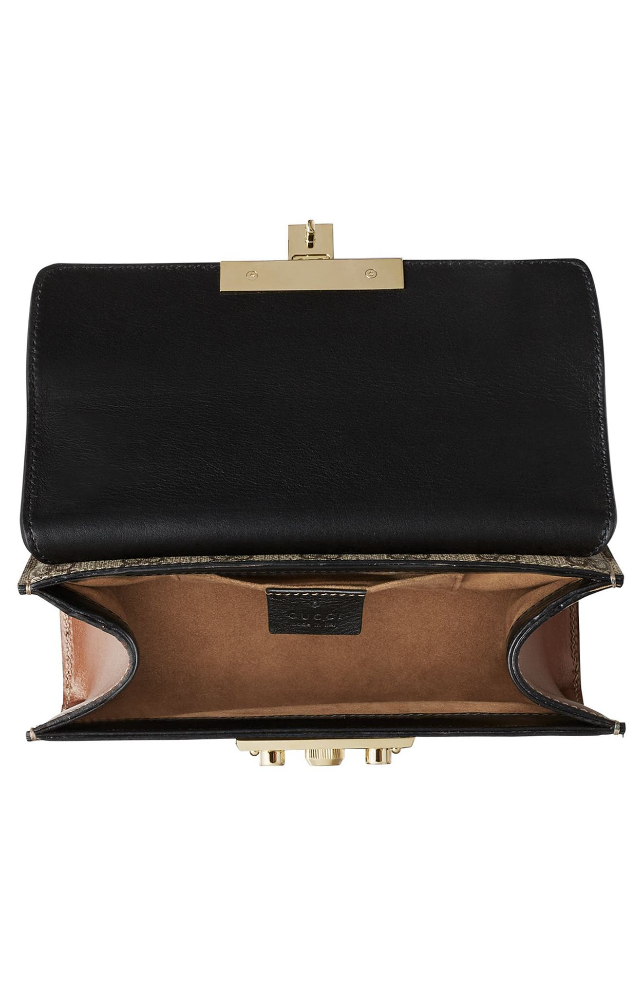 GUCCI, Small Padlock GG Supreme Canvas & Leather Shoulder Bag, Alternate thumbnail 3, color, MOON/TOSCANO