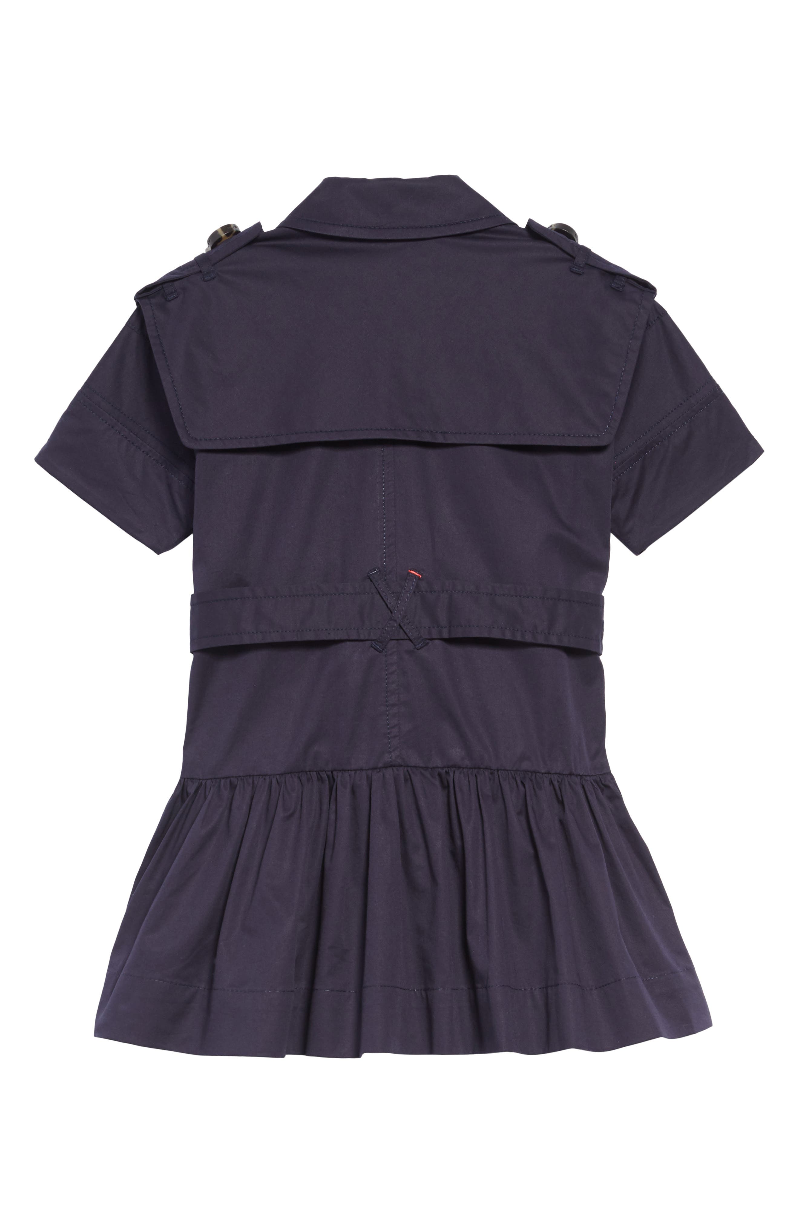 BURBERRY, Cynthie Stretch Cotton Trench Dress, Alternate thumbnail 2, color, MIDNIGHT