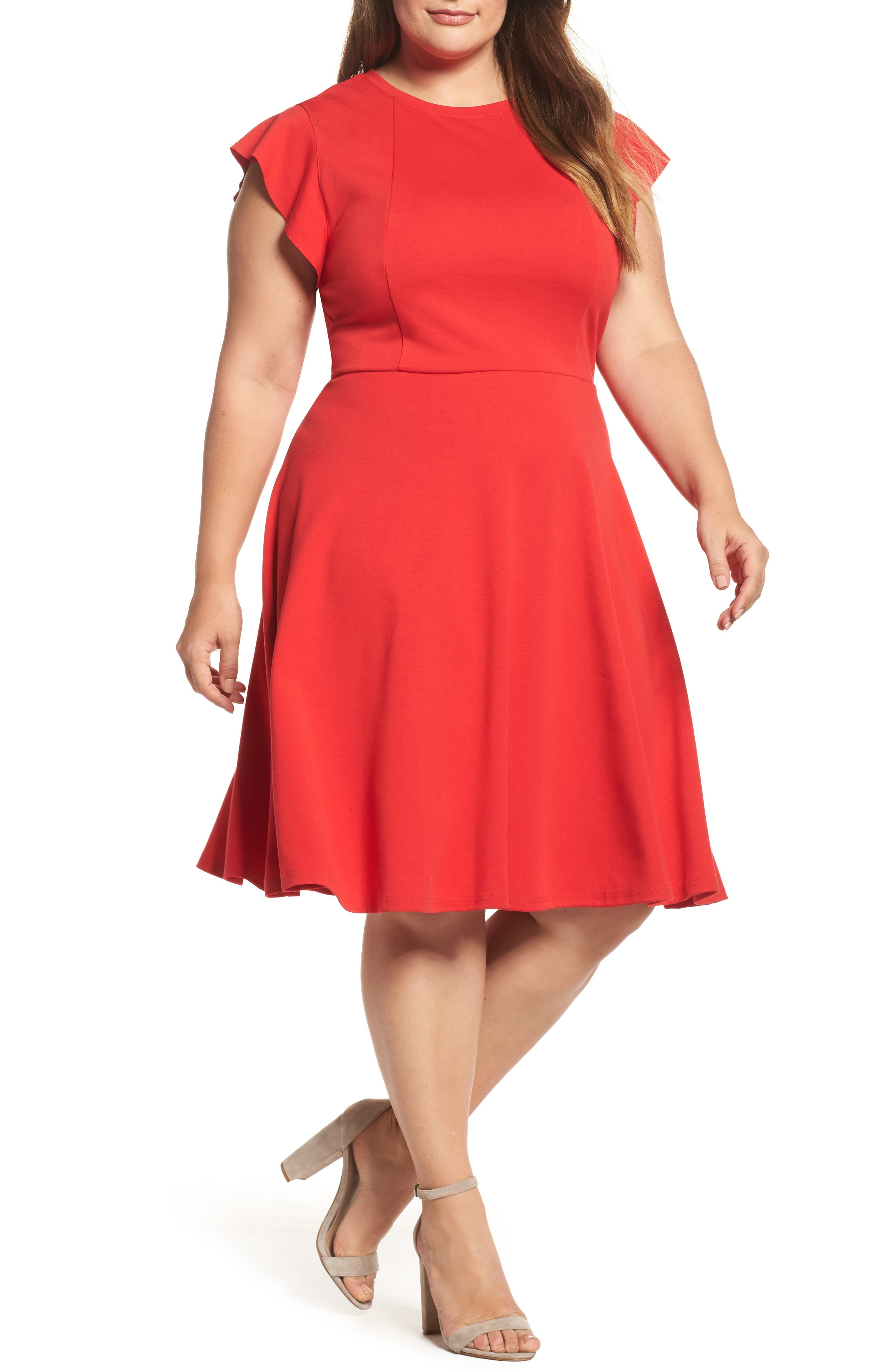 Plus Size City Chic Frill Sleeve Fit & Flare Dress, Red