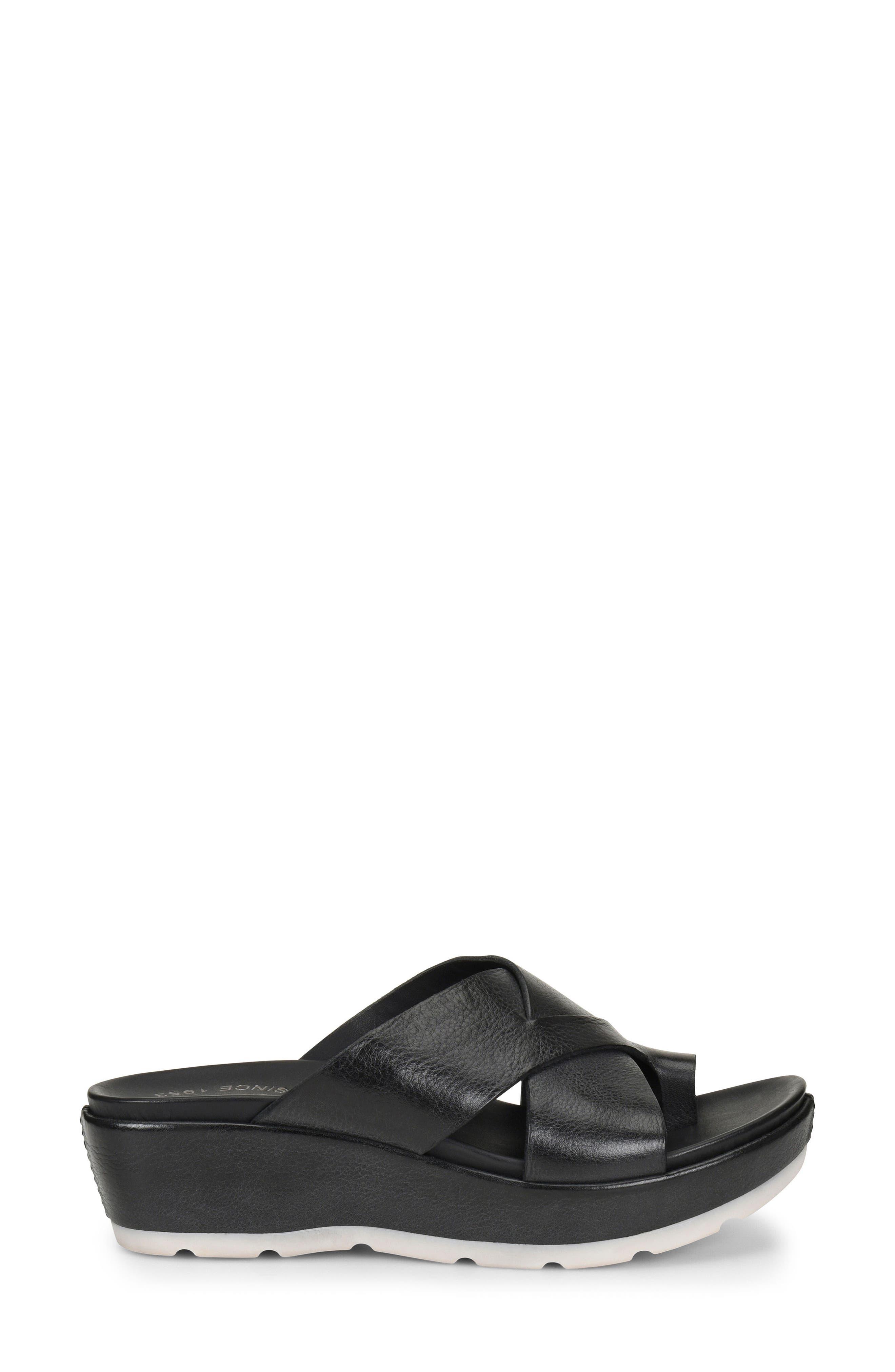 KORK-EASE<SUP>®</SUP>, Baja Sport Slide Sandal, Alternate thumbnail 3, color, BLACK LEATHER