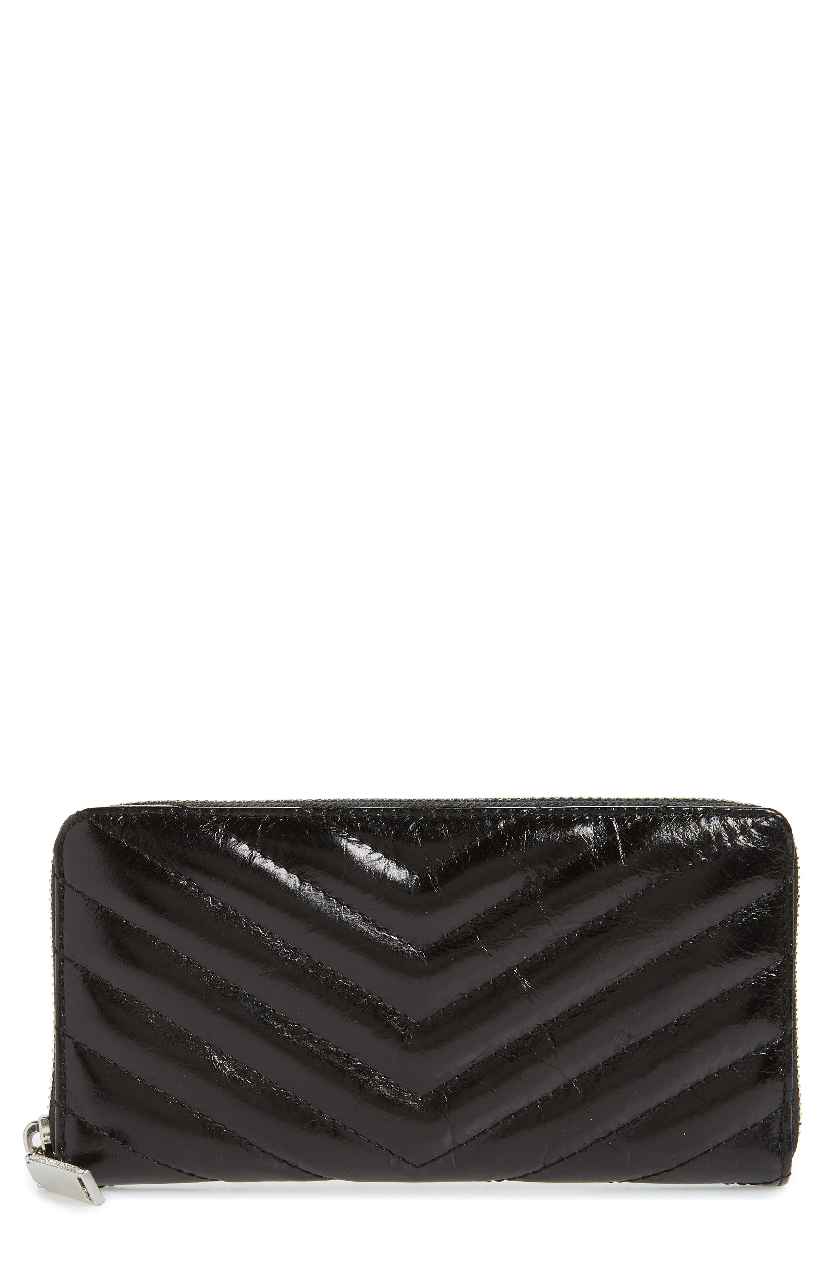 REBECCA MINKOFF Quilted Wallet, Main, color, BLACK