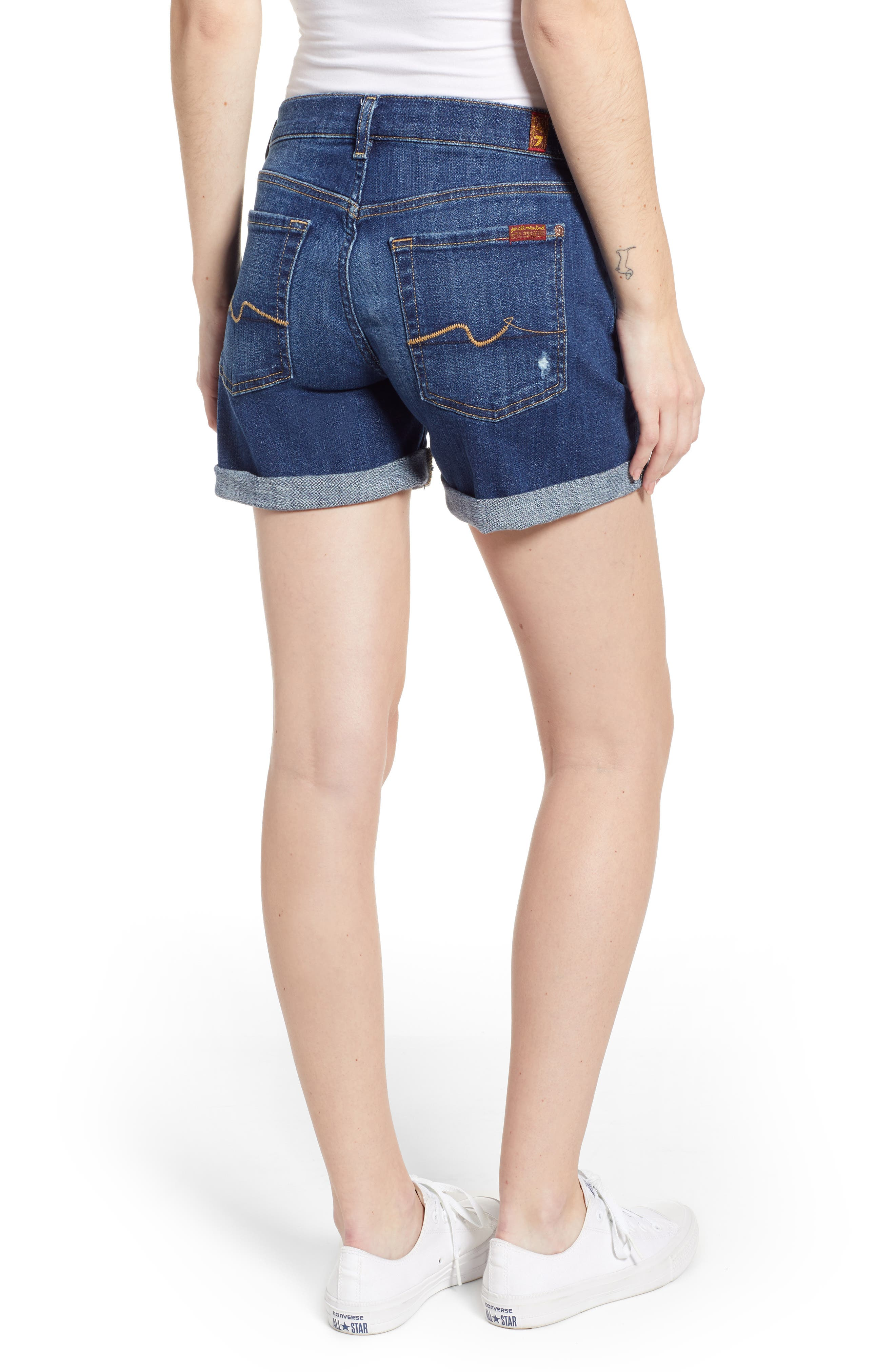 7 FOR ALL MANKIND<SUP>®</SUP>, Roll Cuff Denim Shorts, Alternate thumbnail 2, color, BROKEN TWILL VANITY W/ DESTROY