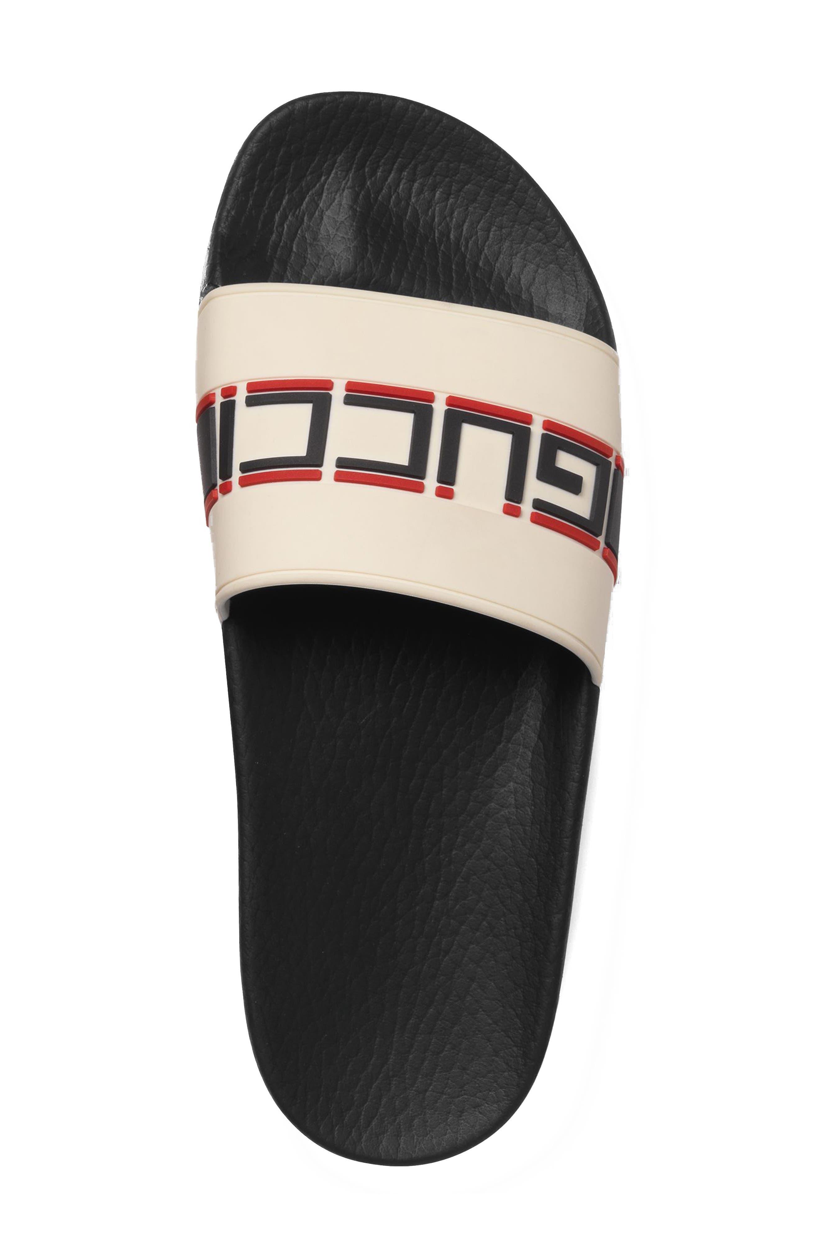 GUCCI, Pursuit Logo Slide Sandal, Alternate thumbnail 3, color, ECRU