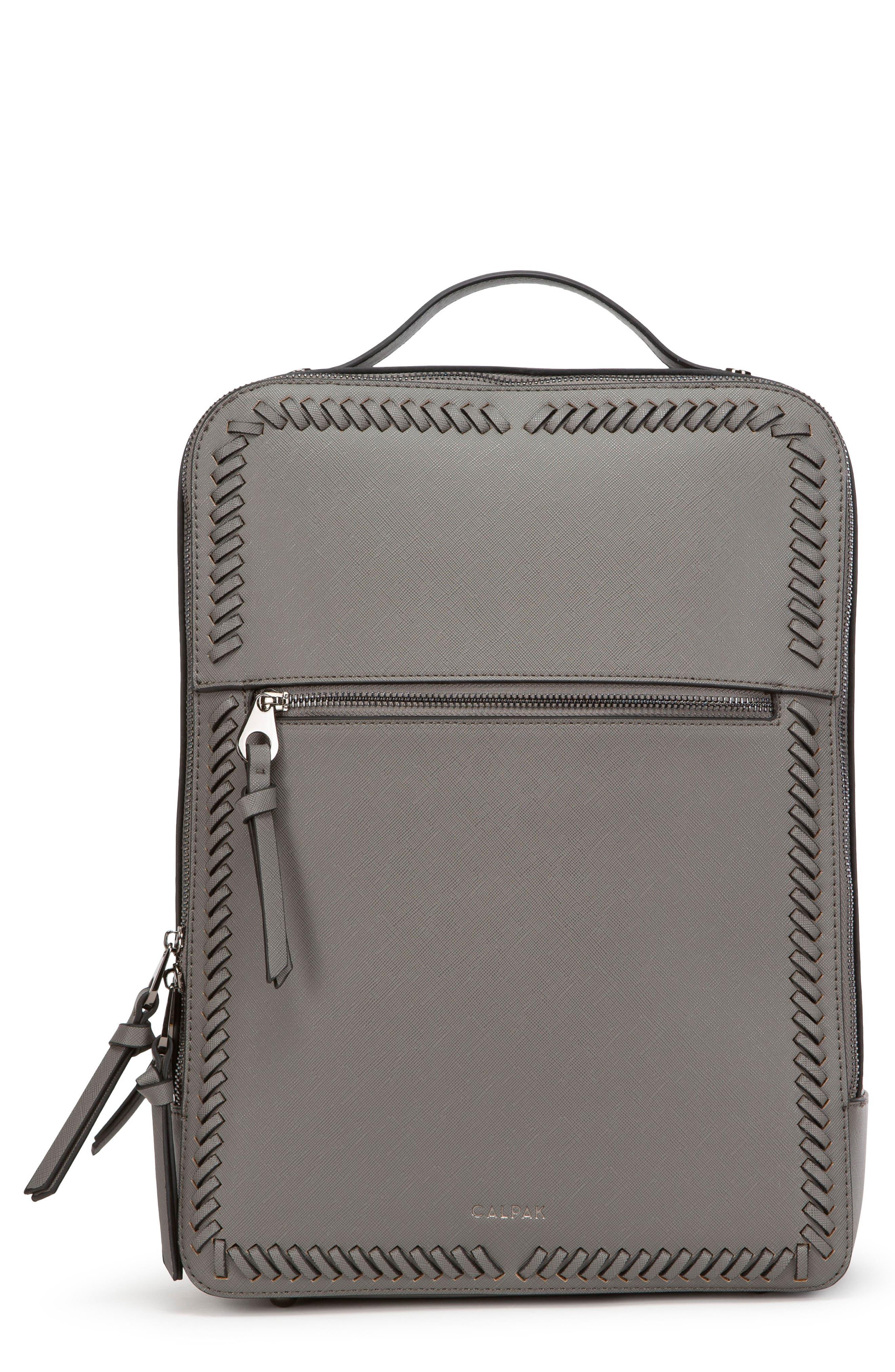 CALPAK, Kaya Faux Leather Laptop Backpack, Main thumbnail 1, color, CHARCOAL