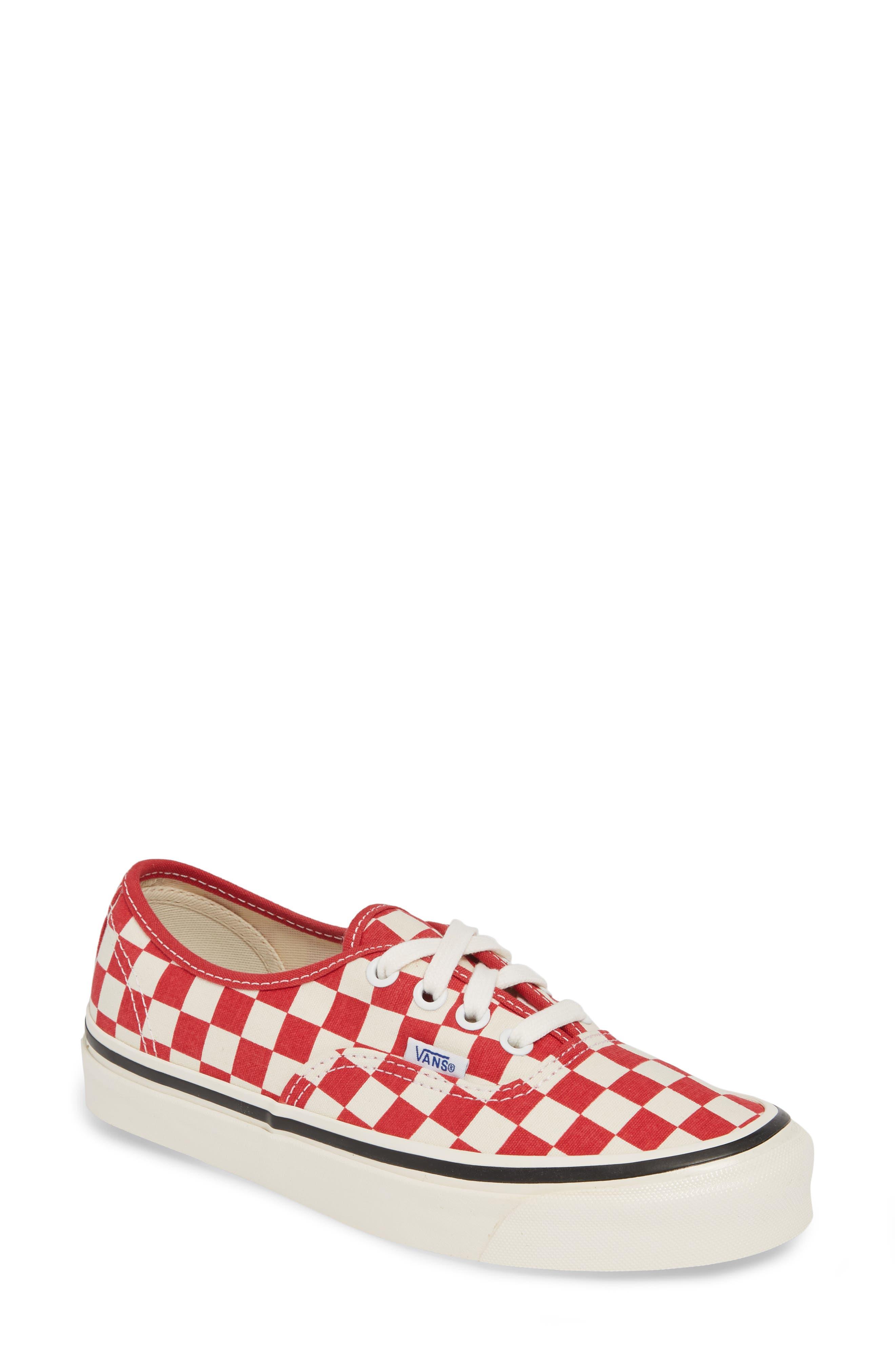 VANS, Authentic 44 DX Sneaker, Main thumbnail 1, color, RED/ CHECK