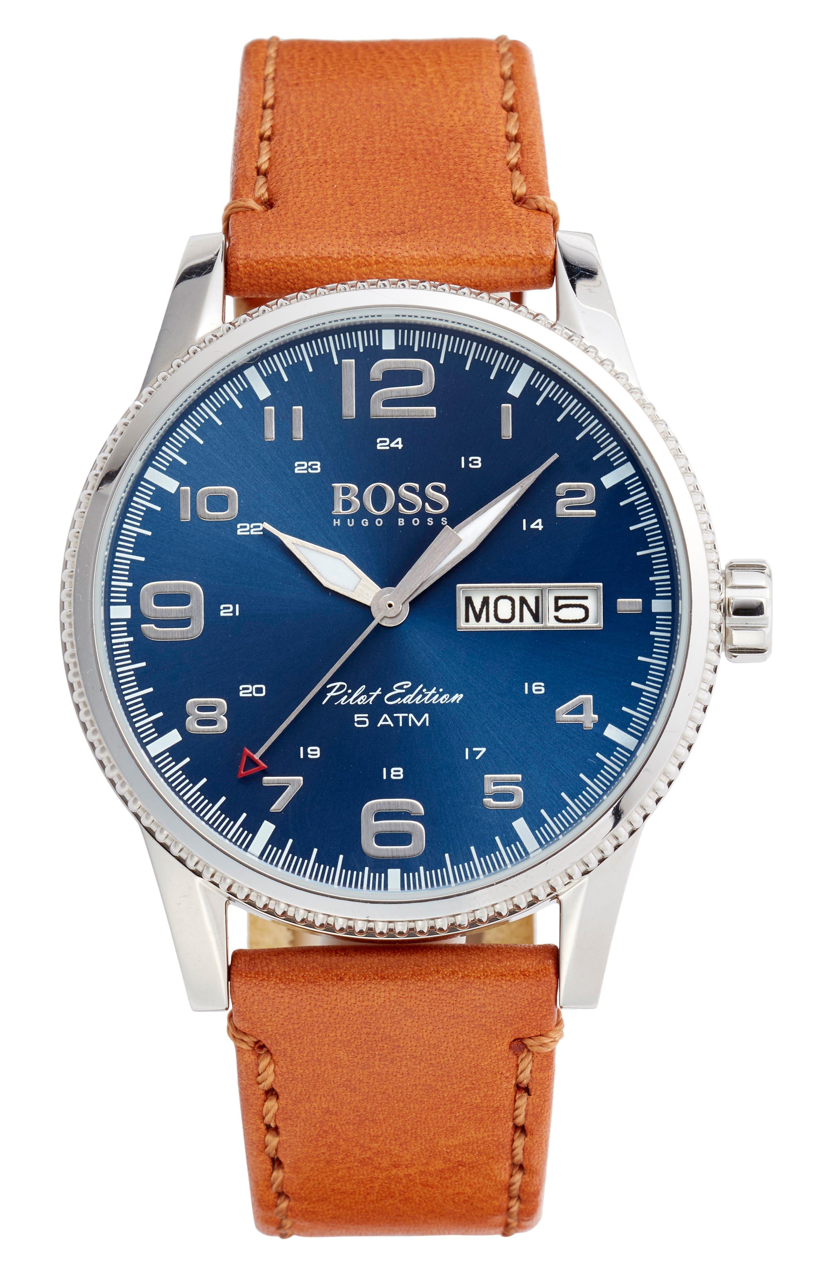 HUGO, BOSS Pilot Vintage Leather Strap Watch, Main thumbnail 1, color, BROWN/ BLUE/ SILVER