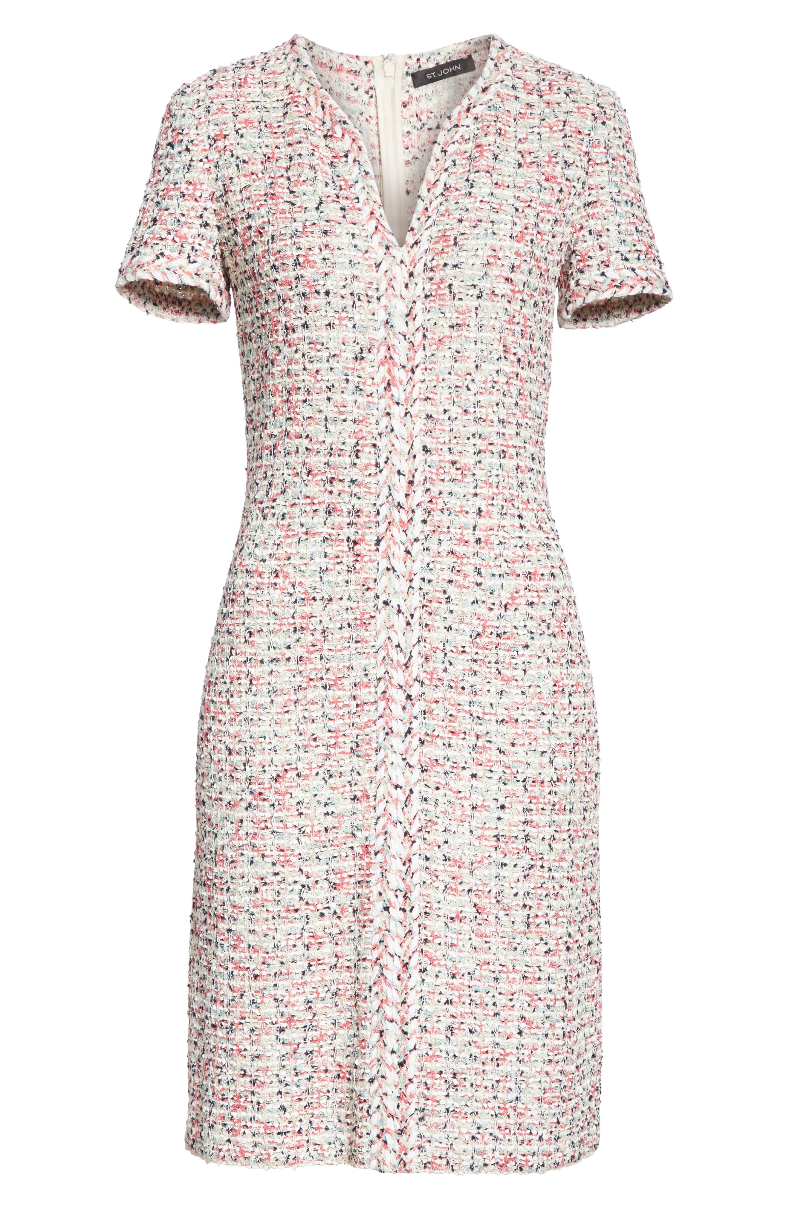 ST. JOHN COLLECTION, Modern Knit Dress, Alternate thumbnail 7, color, CREAM MULTI