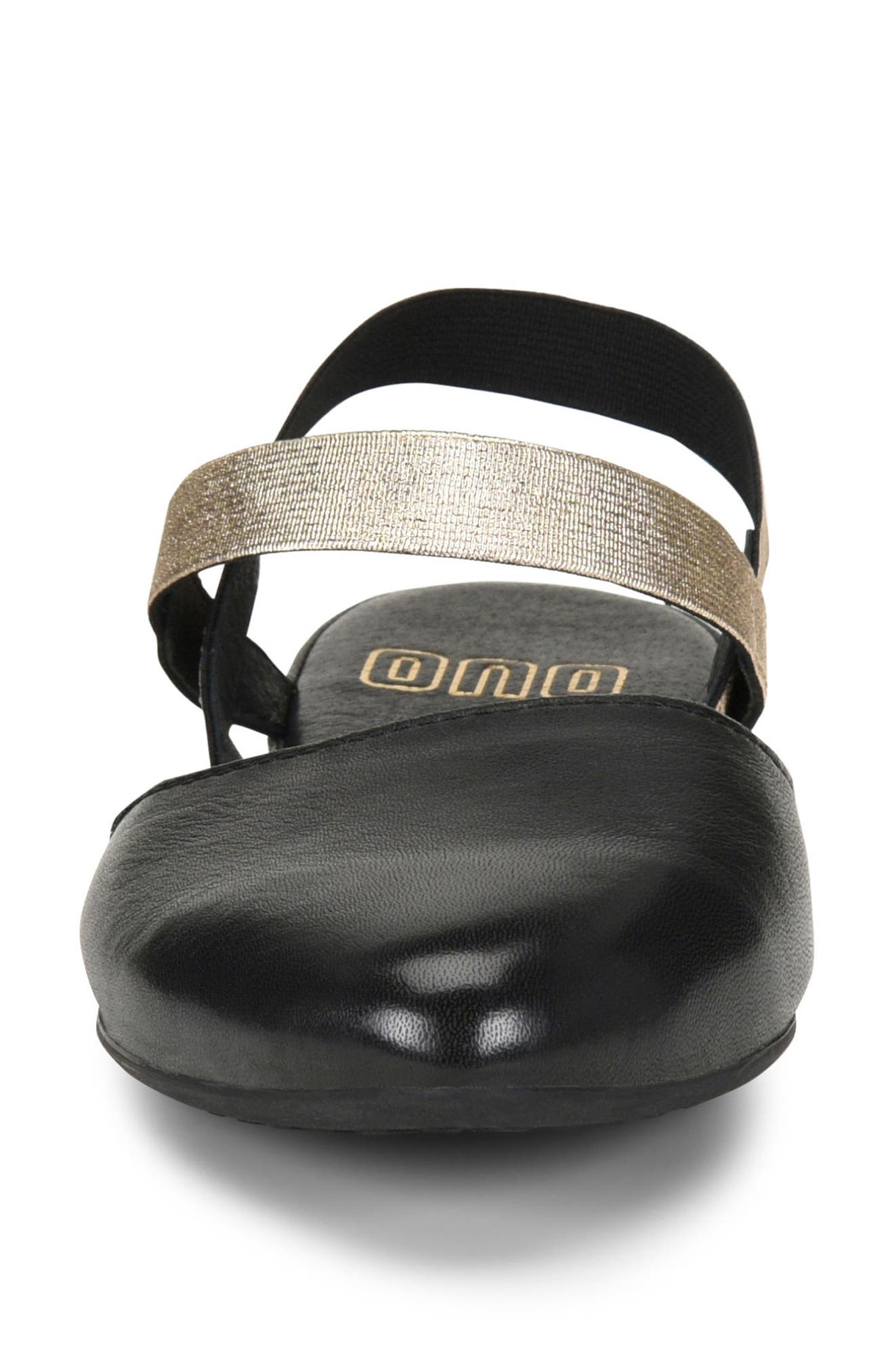 ONO, Free Ankle Strap Flat, Alternate thumbnail 4, color, BLACK LEATHER