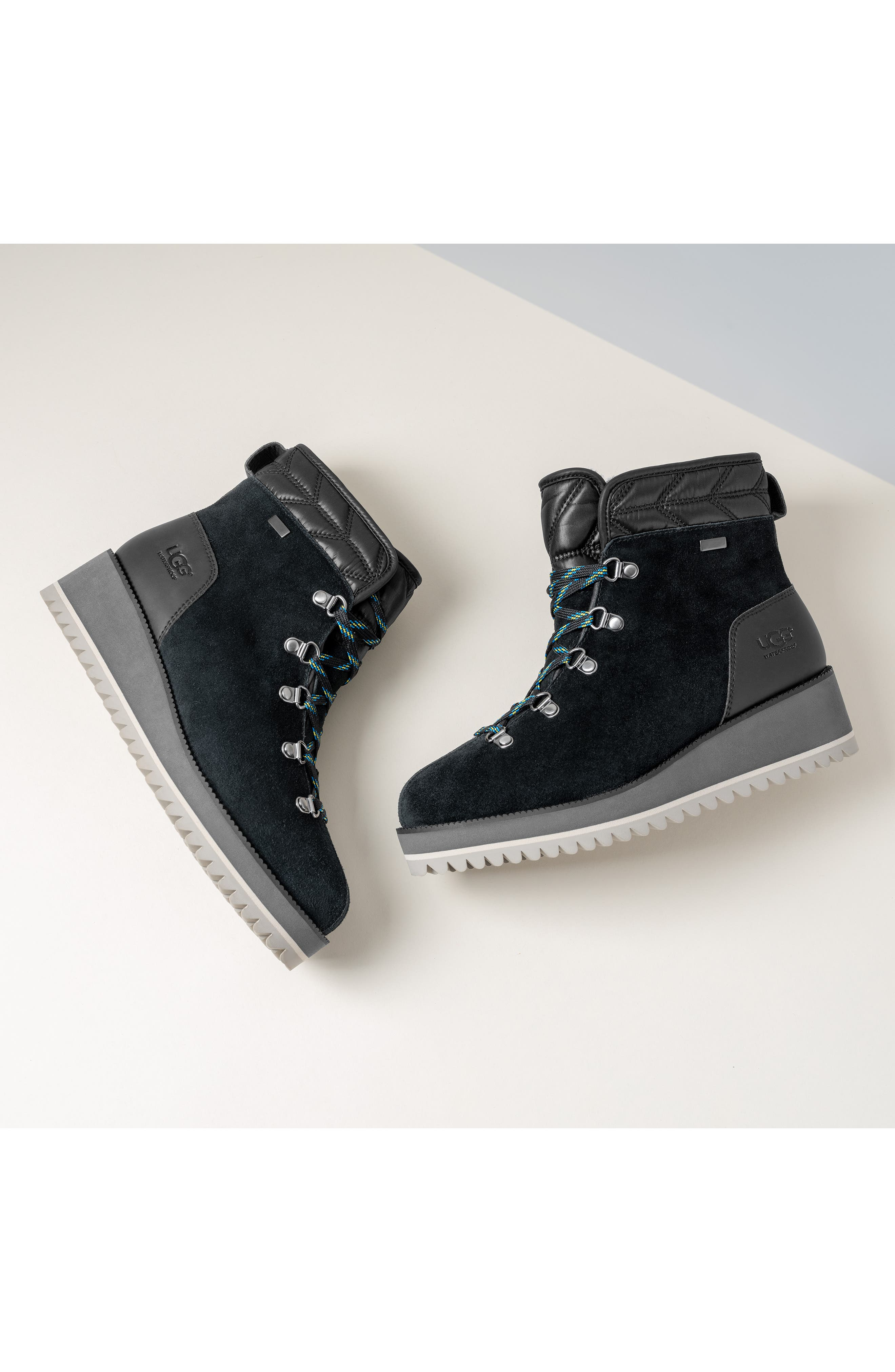 UGG<SUP>®</SUP>, Birch Waterproof Lace-Up Winter Bootie, Alternate thumbnail 8, color, BLACK