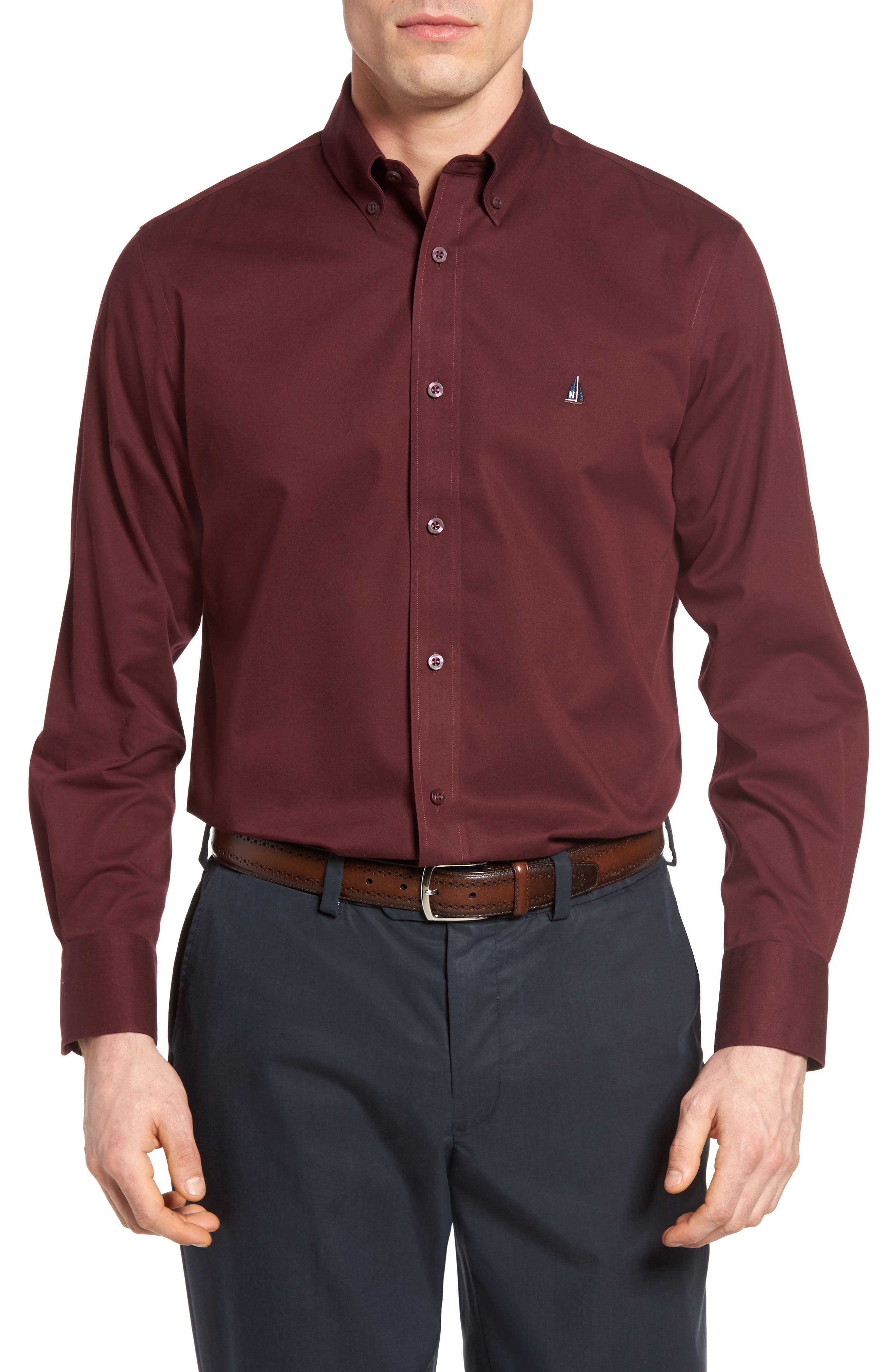 NORDSTROM MEN'S SHOP, Smartcare<sup>™</sup> Traditional Fit Twill Boat Shirt, Main thumbnail 1, color, BURGUNDY ROYALE