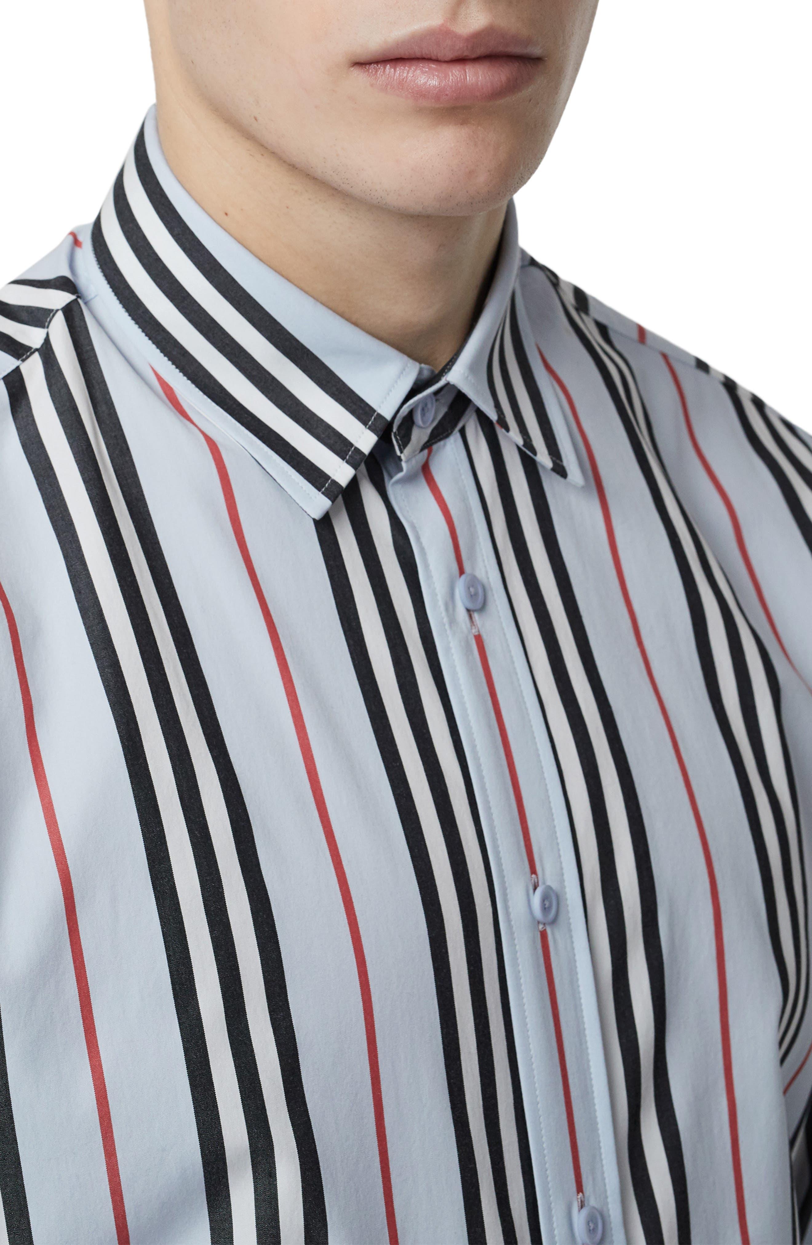 BURBERRY, Icon Stripe Shirt, Alternate thumbnail 2, color, PALE BLUE