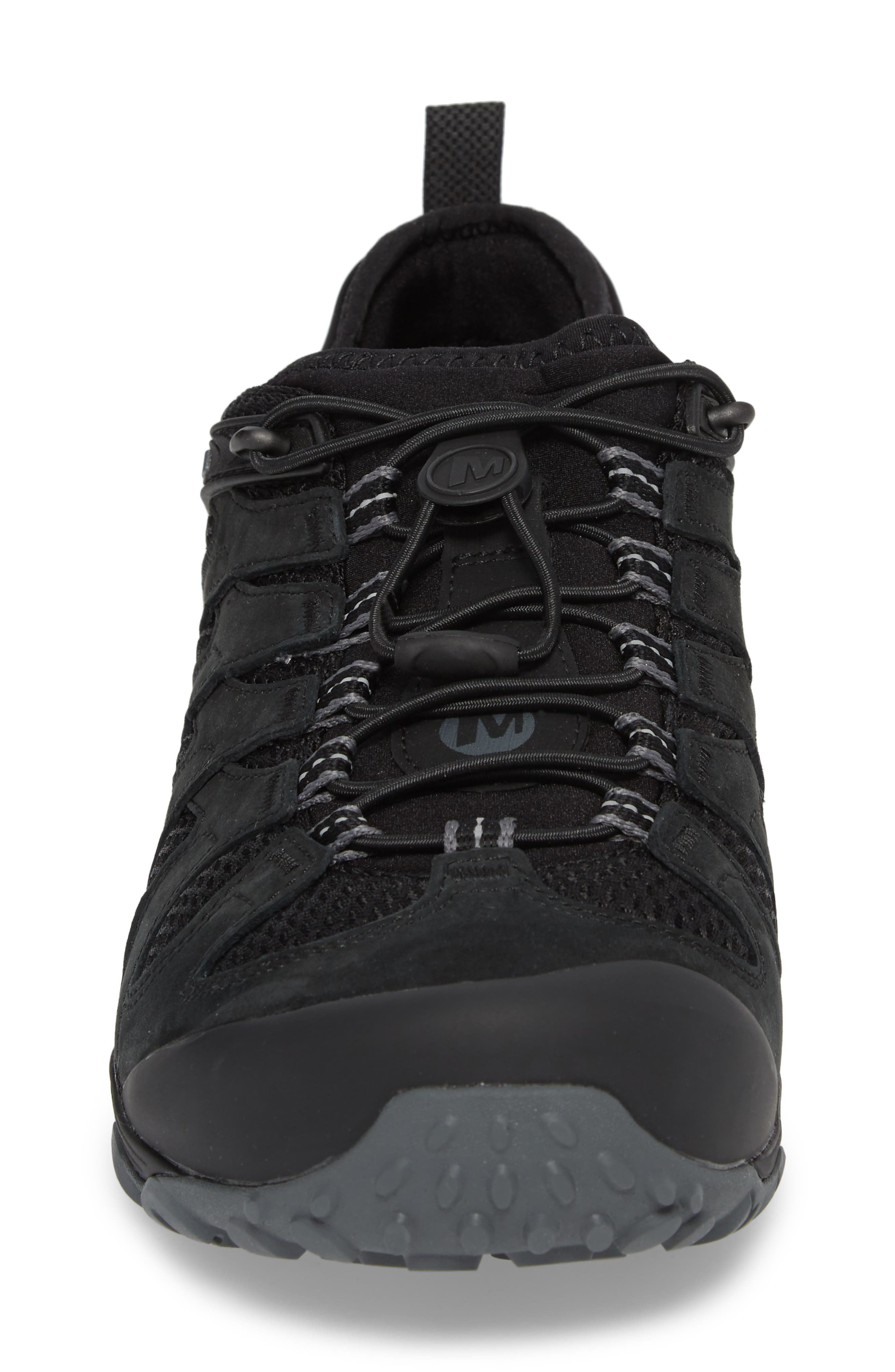MERRELL, Chameleon 7 Stretch Hiking Shoe, Alternate thumbnail 4, color, BLACK