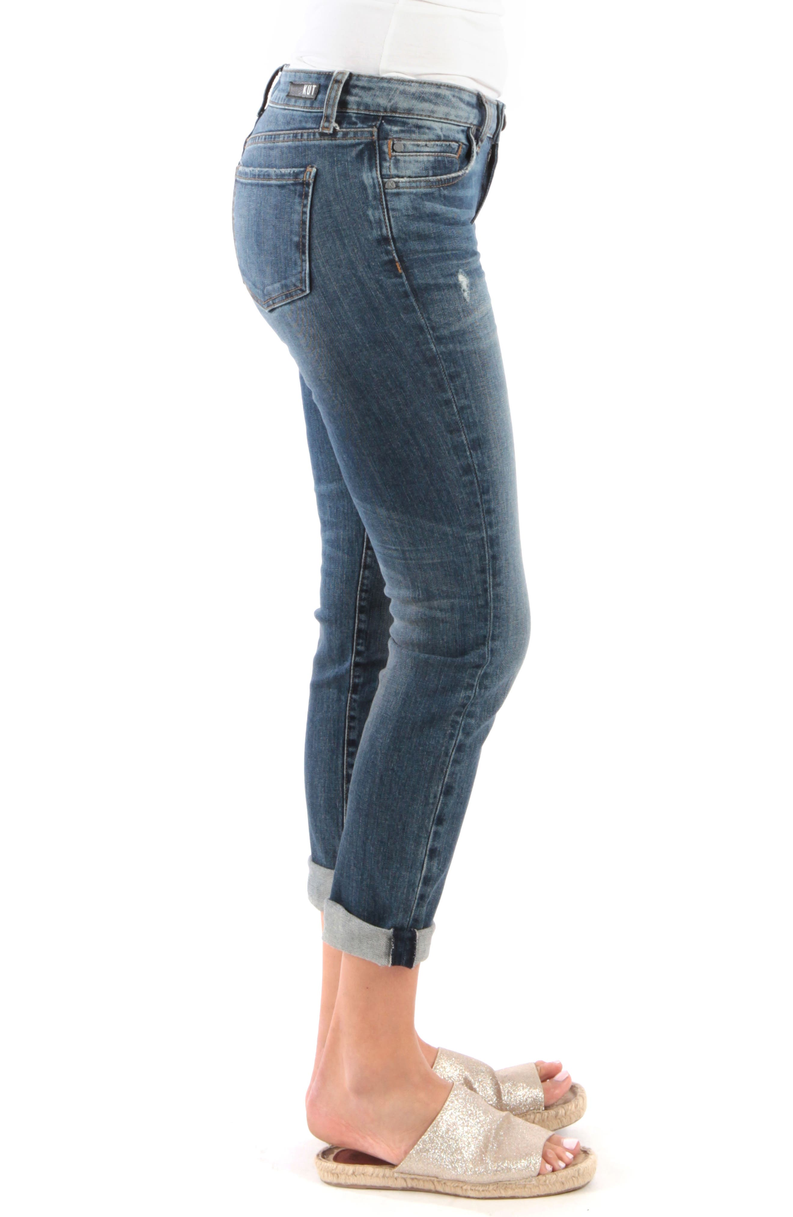 KUT FROM THE KLOTH, Catherine Distressed Roll Hem Crop Boyfriend Jeans, Alternate thumbnail 4, color, PARALLEL