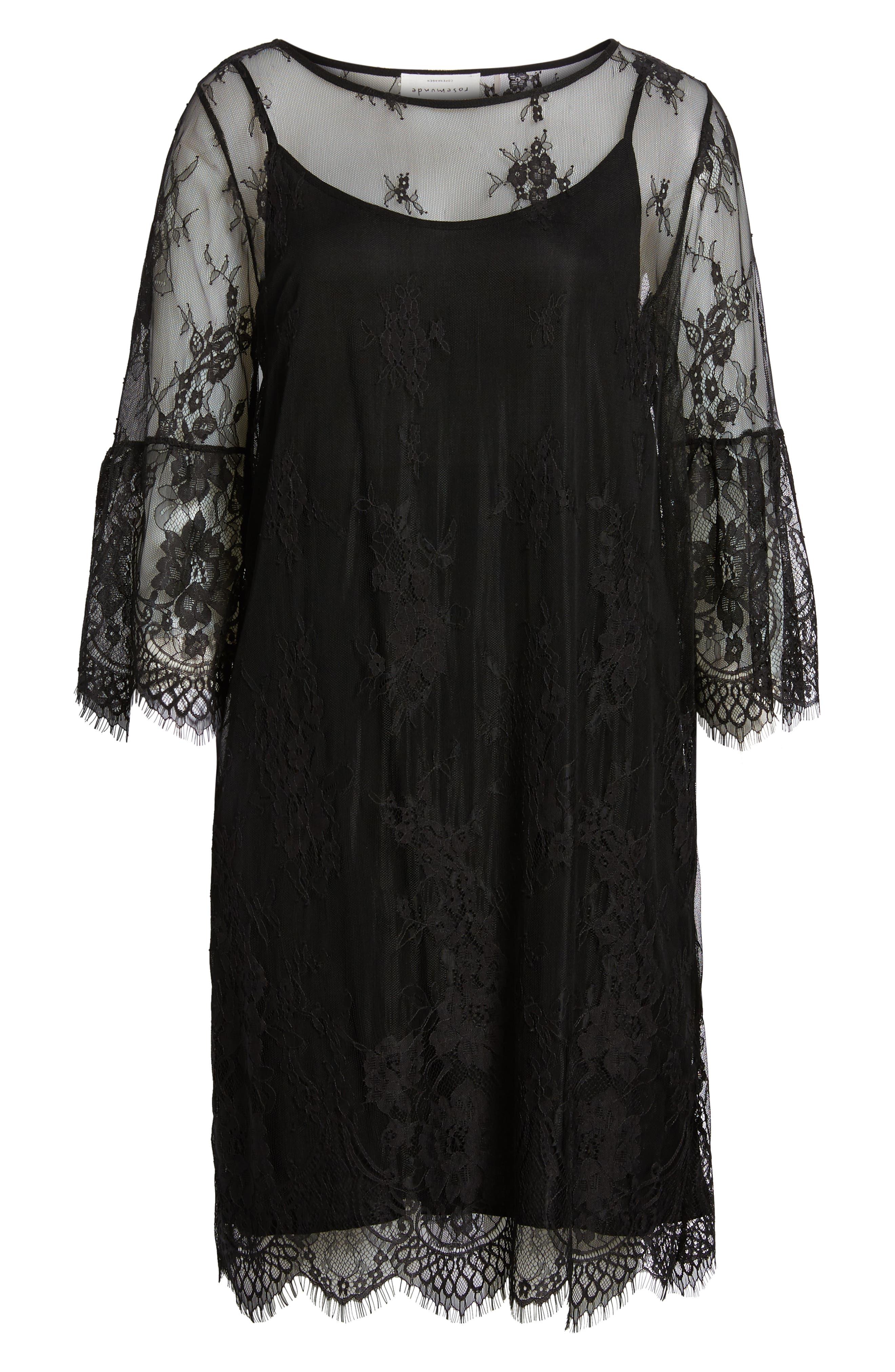 ROSEMUNDE, Aix Lace Dress, Alternate thumbnail 7, color, BLACK