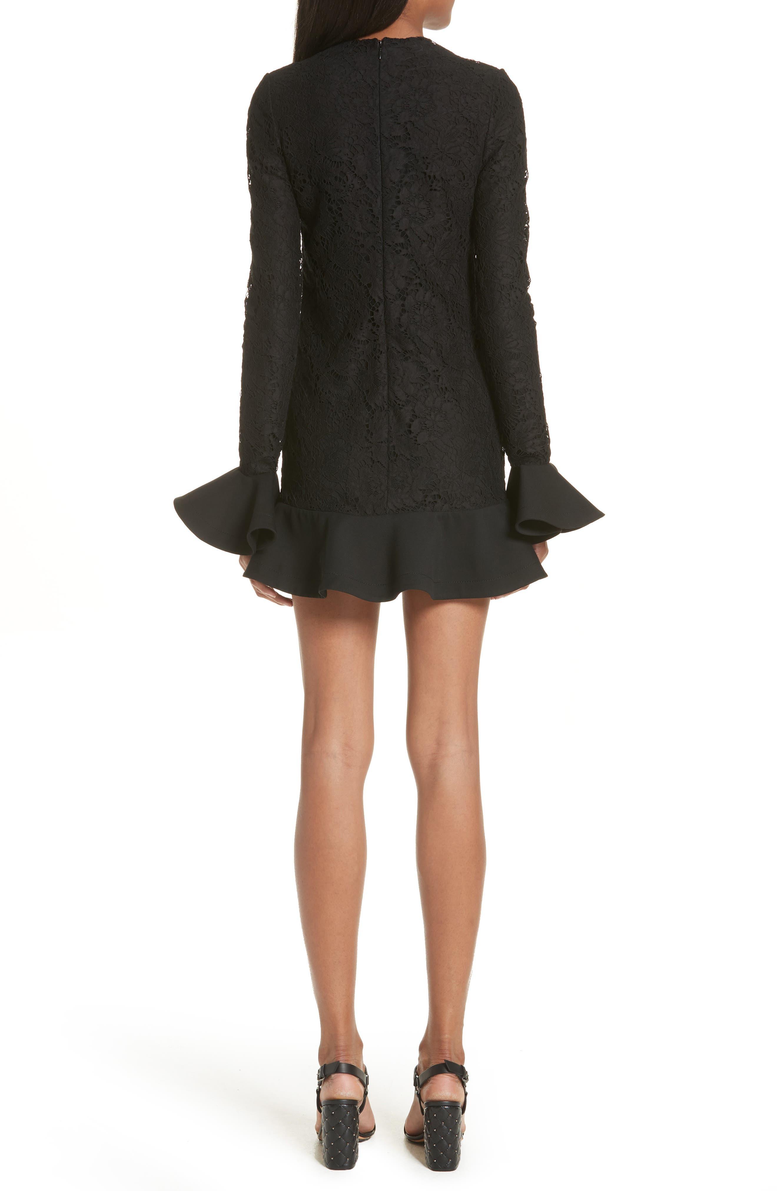 VALENTINO, Ruffle Hem Lace Dress, Alternate thumbnail 2, color, BLACK