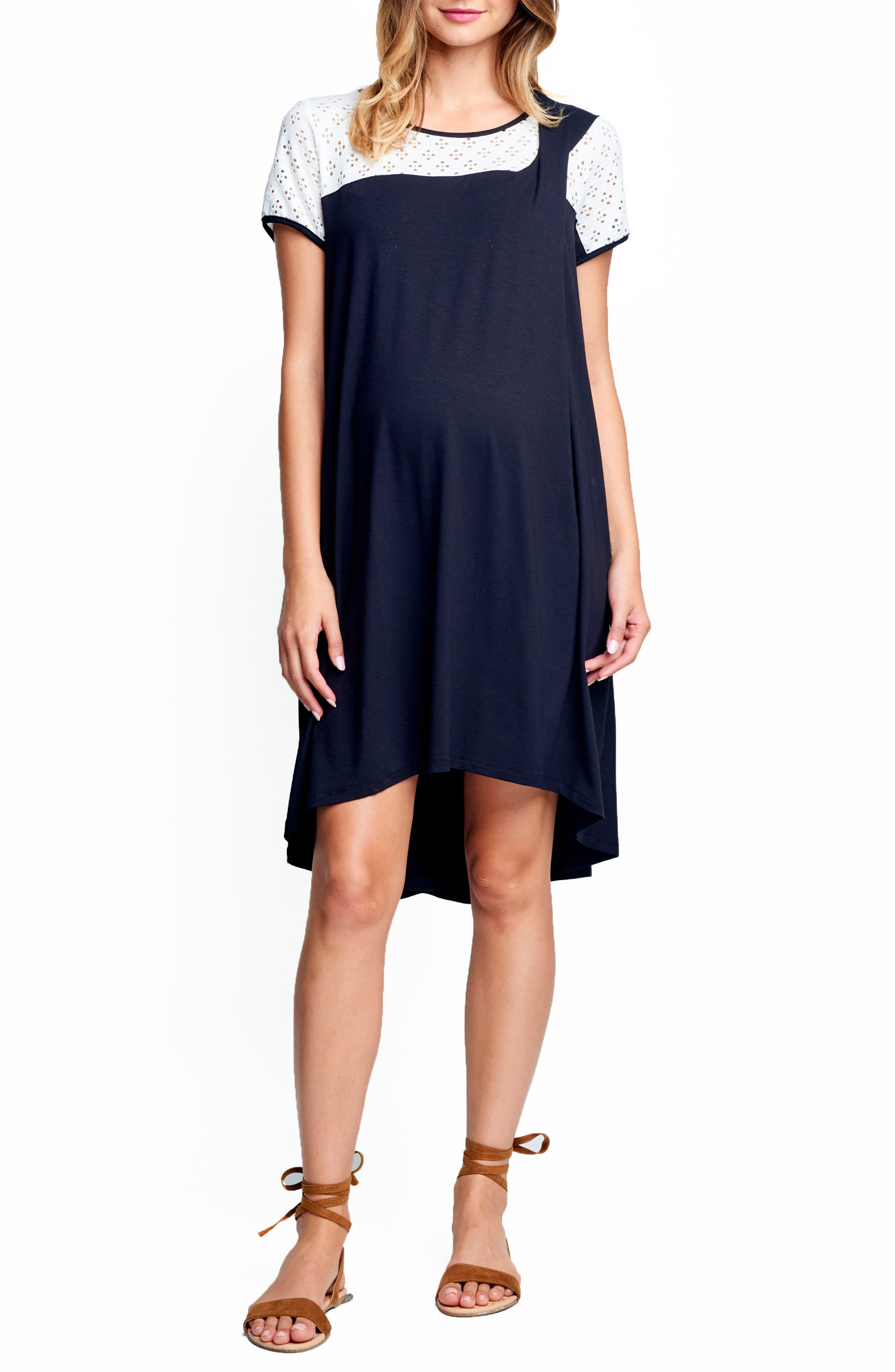 MATERNAL AMERICA Drape High/Low Maternity Dress, Main, color, 100