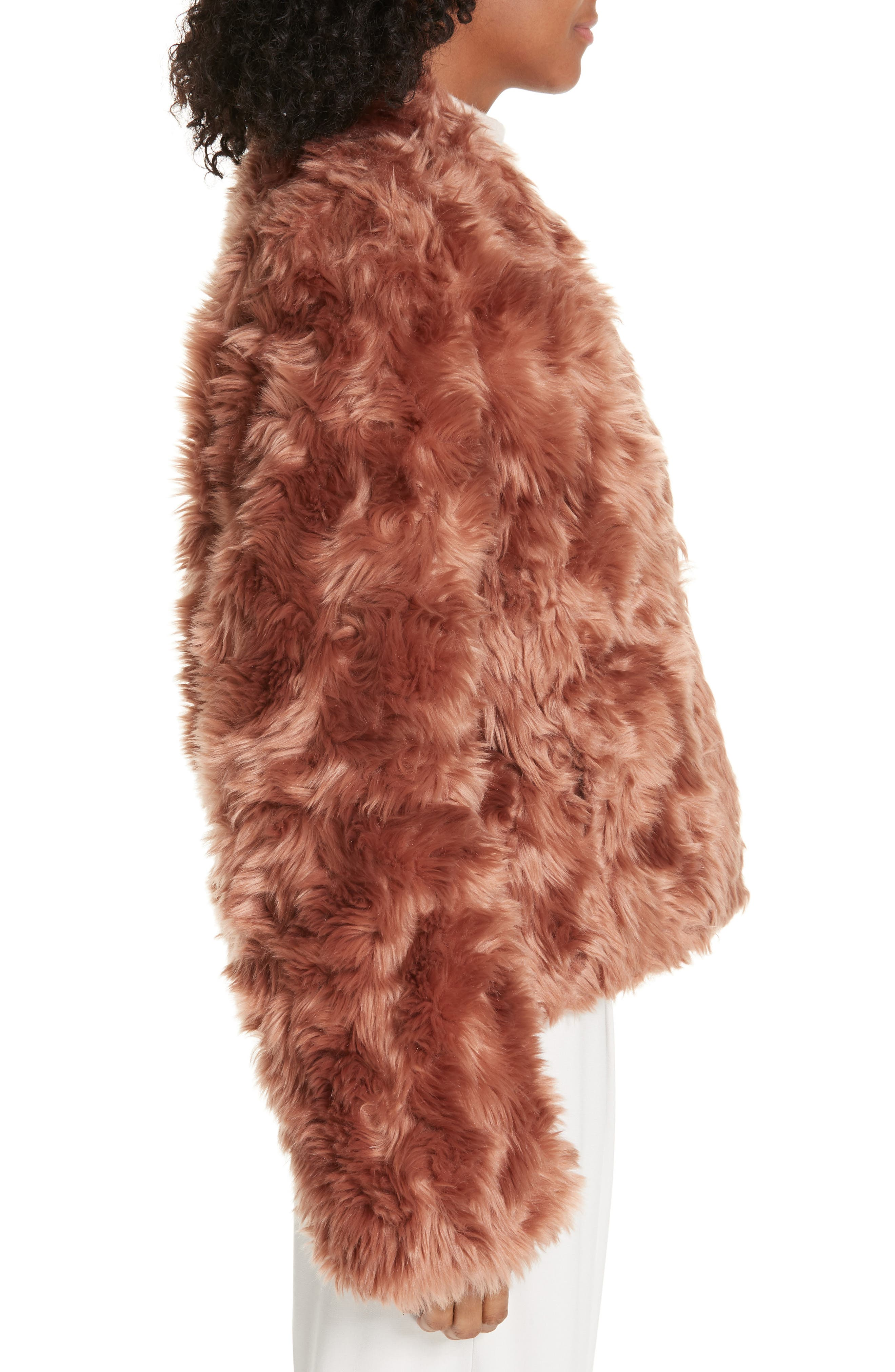VINCE, Plush Faux Fur Jacket, Alternate thumbnail 4, color, PINK UMBER