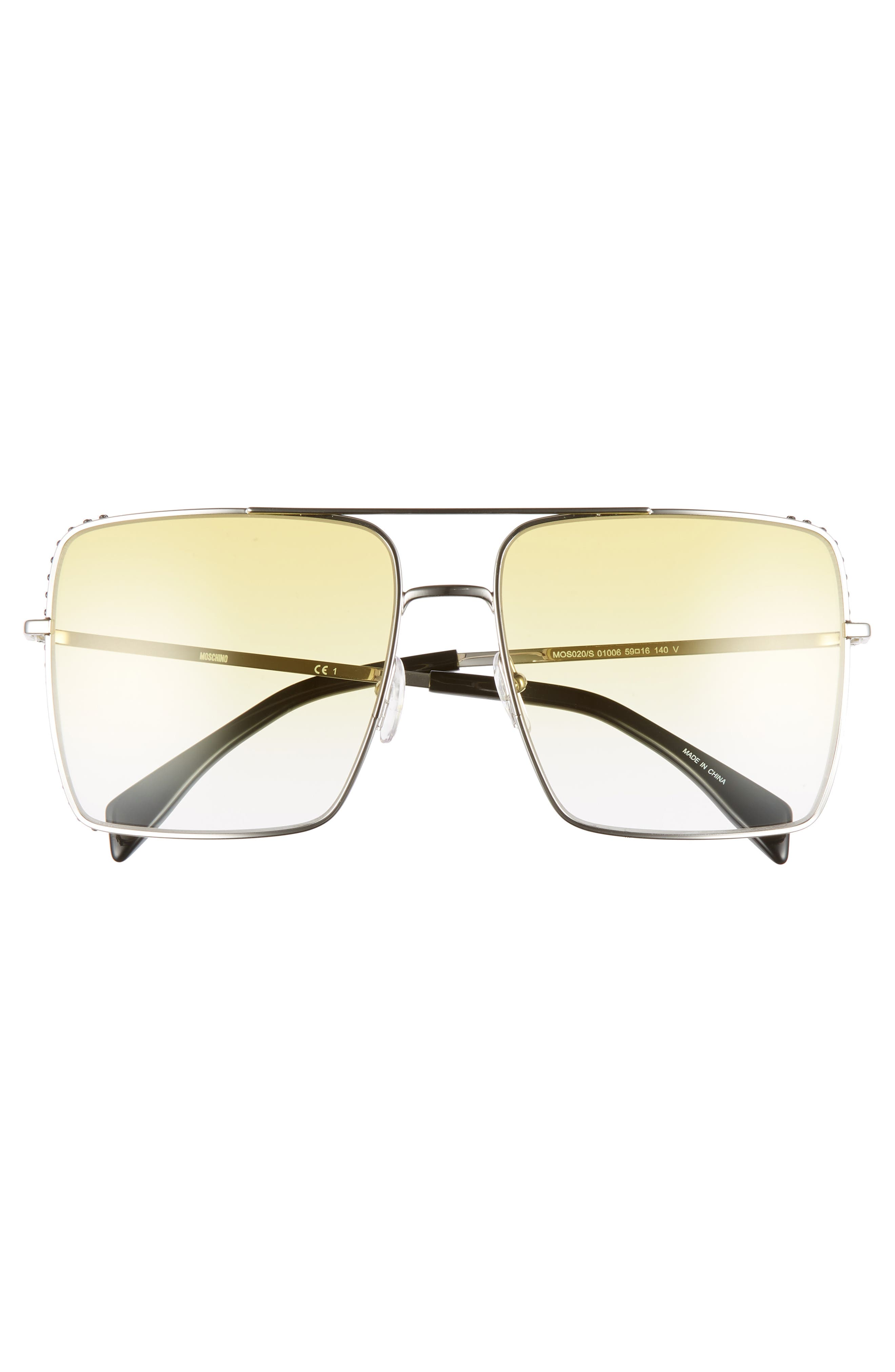 MOSCHINO, 50mm Square Flat Top Sunglasses, Alternate thumbnail 3, color, PALLADIUM