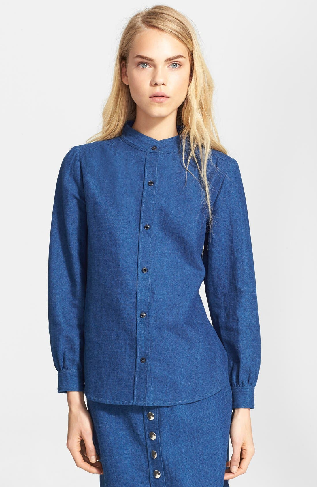 A.P.C., Puff Sleeve Denim Blouse, Main thumbnail 1, color, 400