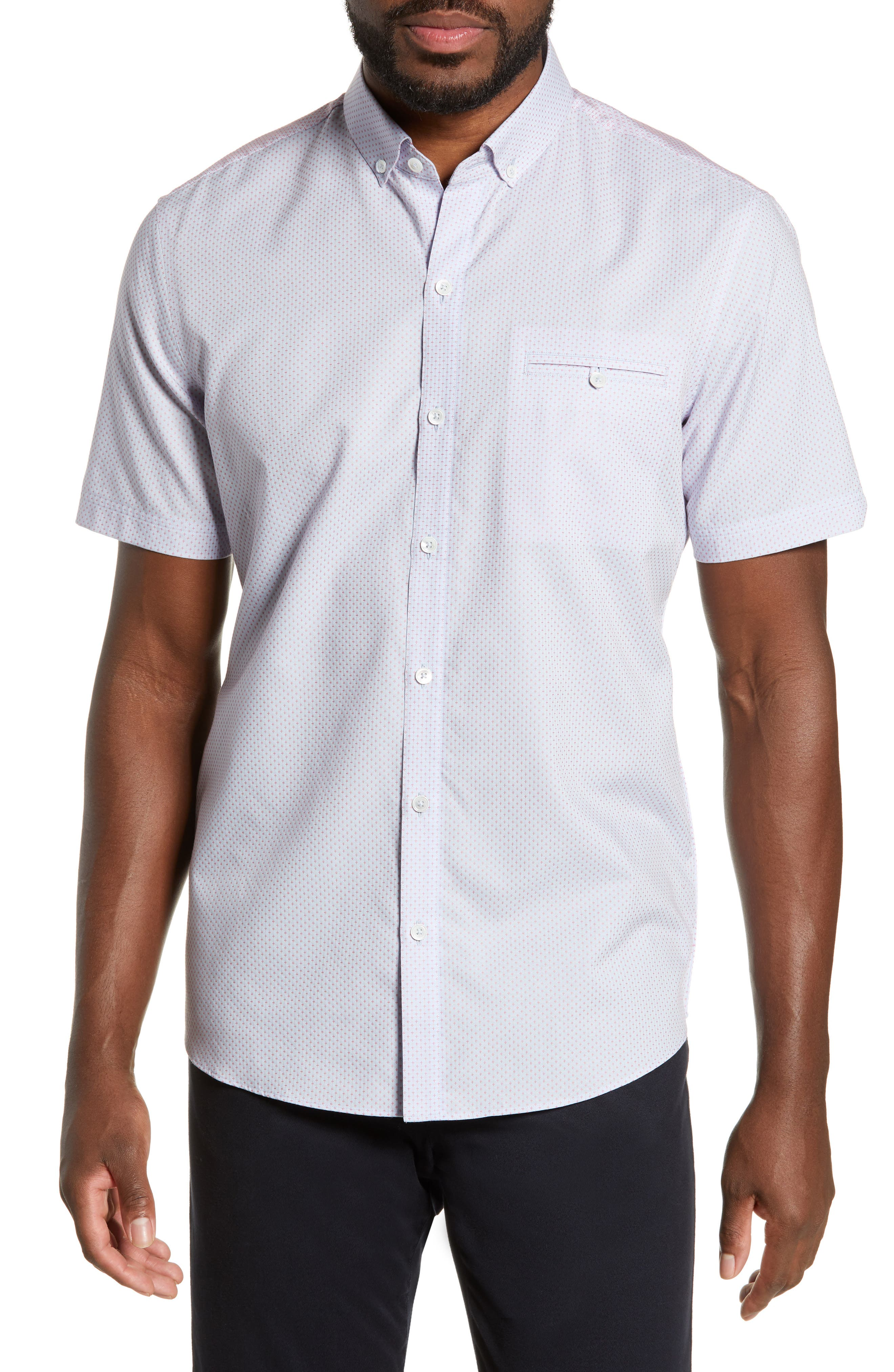 ZACHARY PRELL, McGrew Regular Fit Sport Shirt, Main thumbnail 1, color, FLAMINGO
