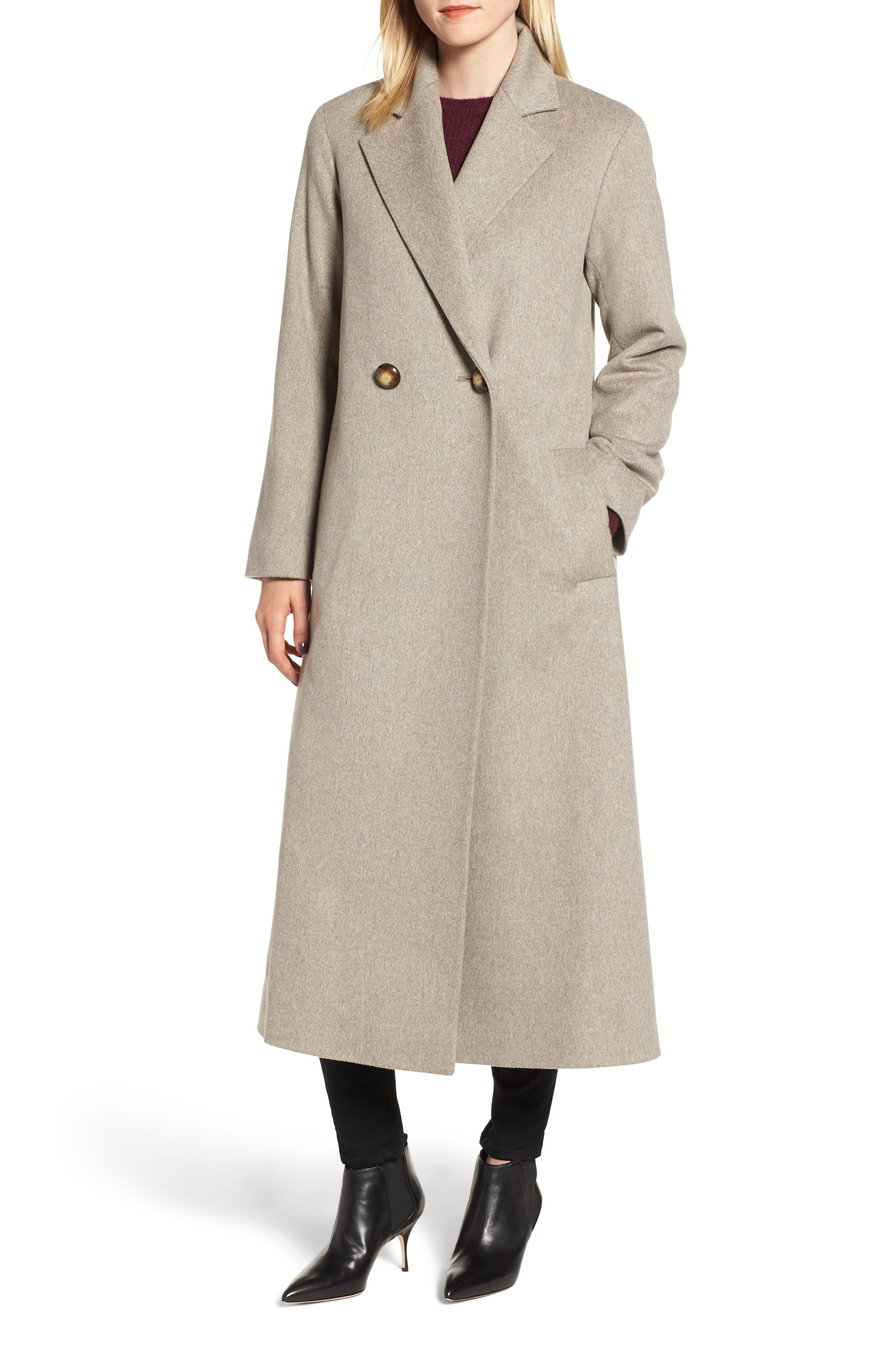 FLEURETTE Long Double Breasted Loro Piana Wool Coat, Main, color, 250