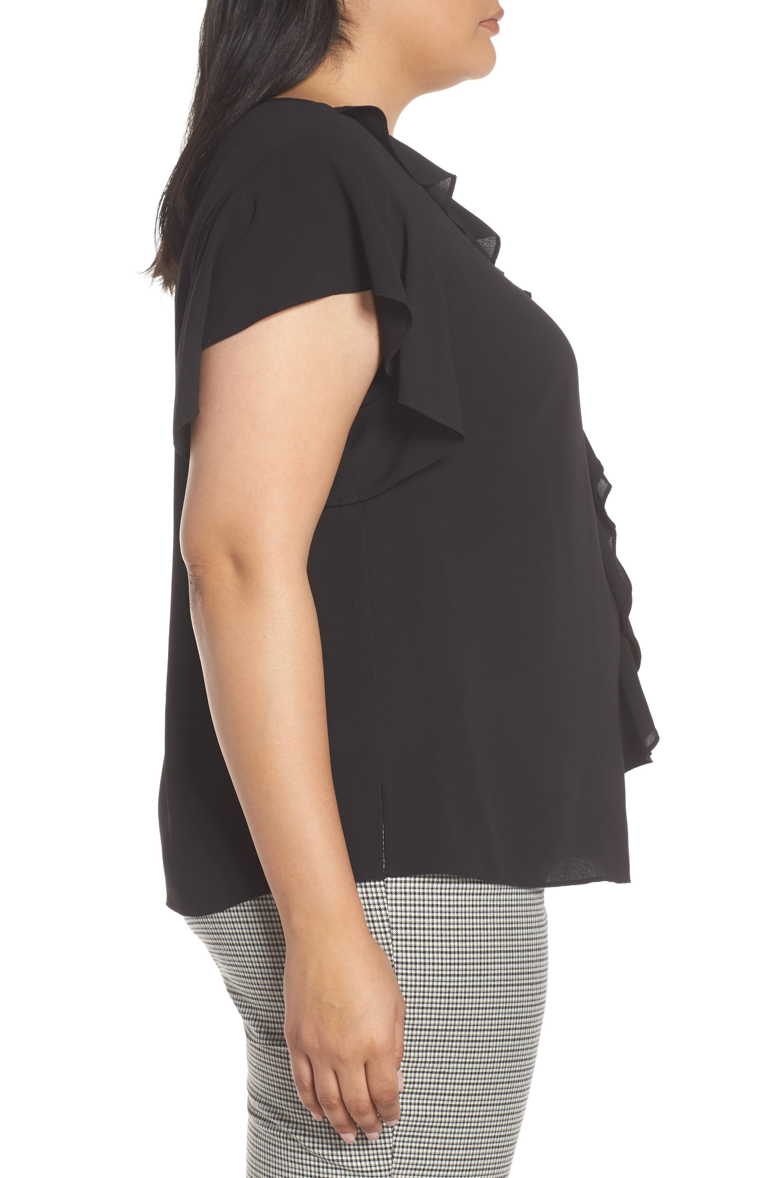 VINCE CAMUTO, Ruffle Flutter Sleeve Top, Alternate thumbnail 3, color, RICH BLACK