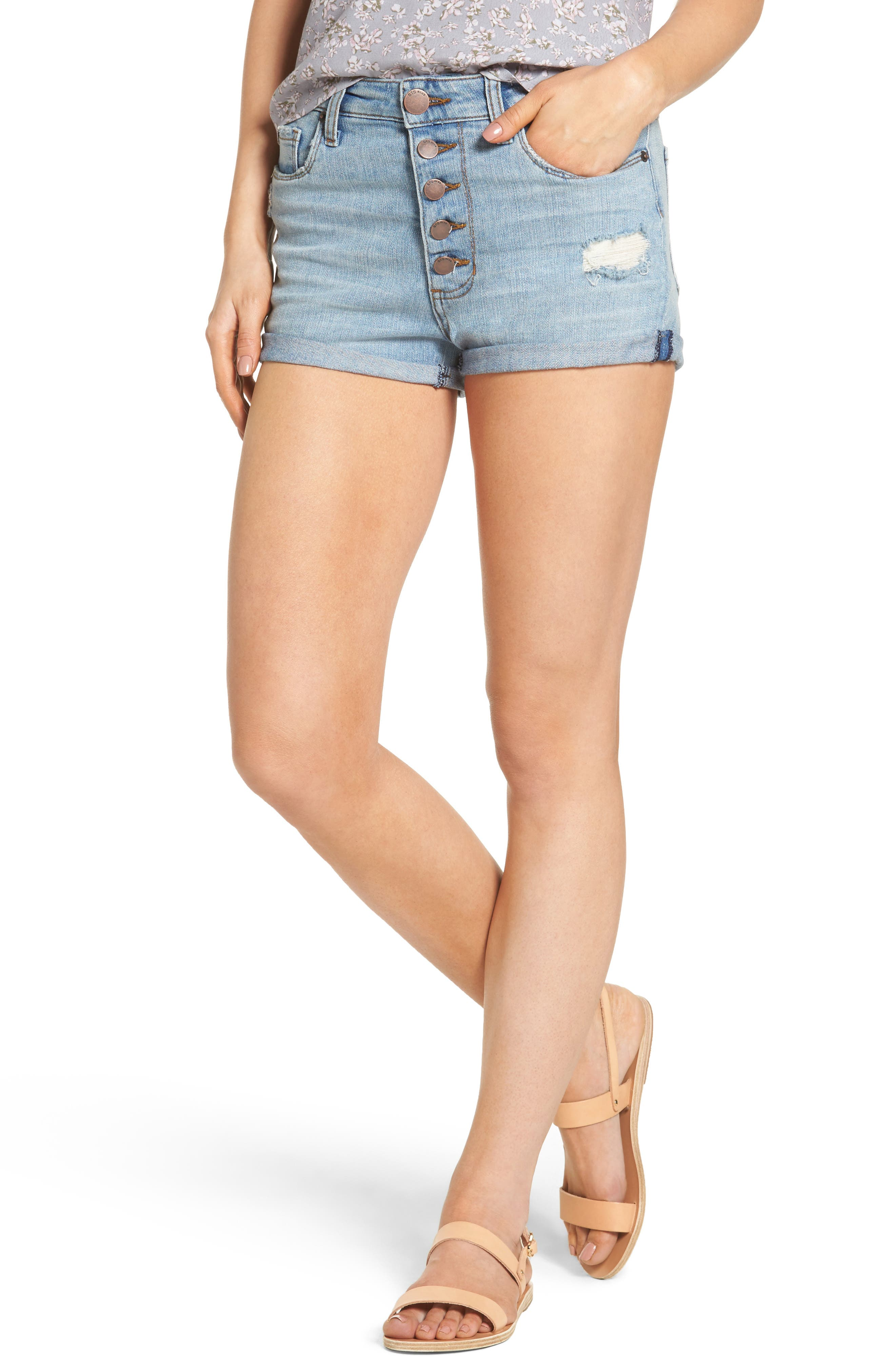 STS BLUE Roll Cuff Denim Shorts, Main, color, 400