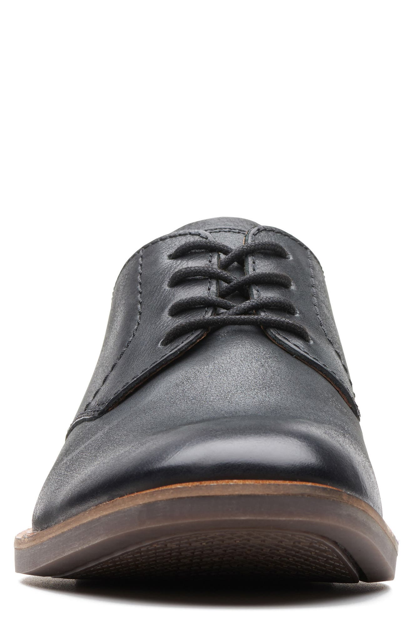 CLARKS<SUP>®</SUP>, Atticus Plain Toe Derby, Alternate thumbnail 3, color, BLACK LEATHER