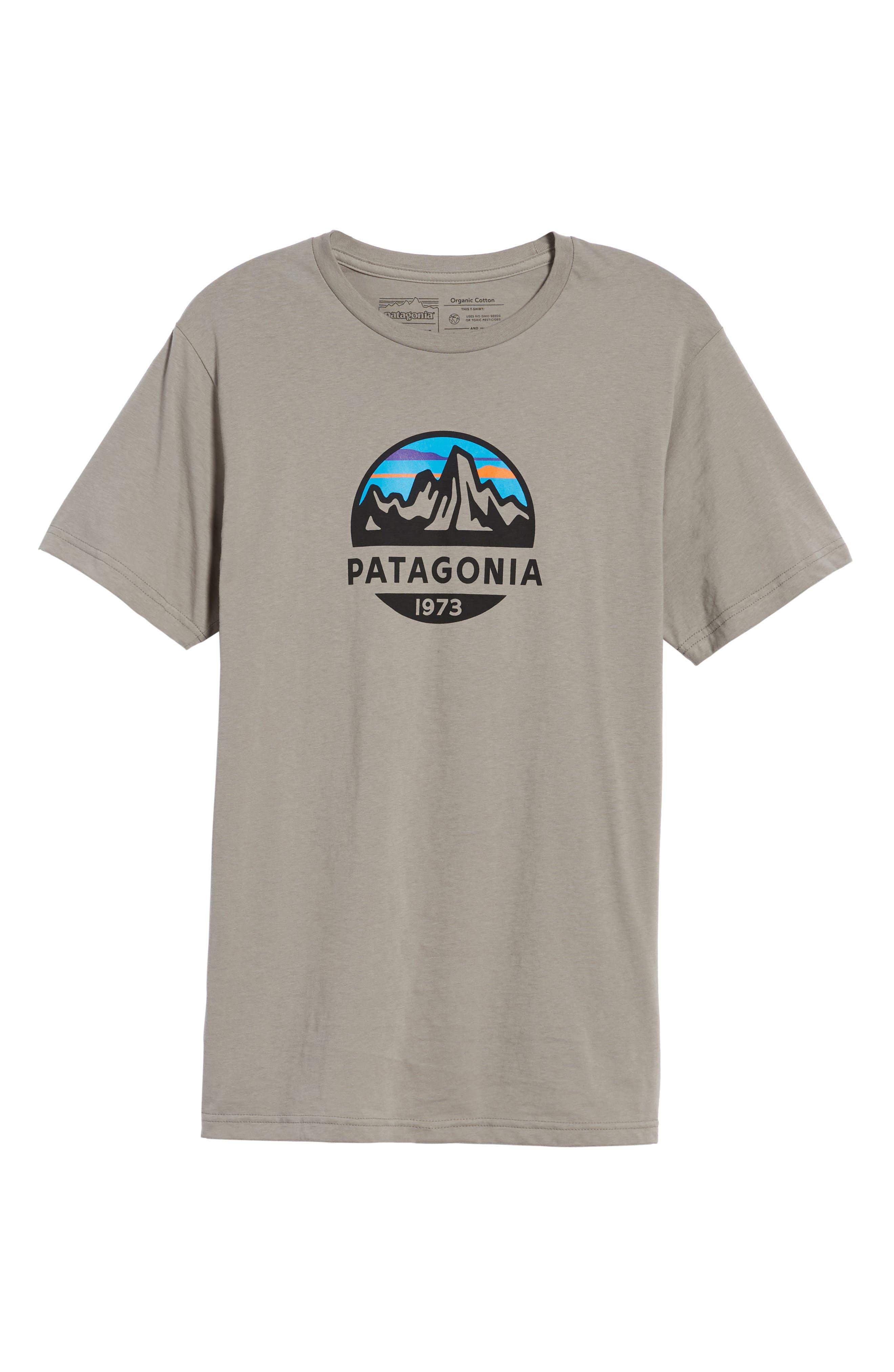 PATAGONIA, Fitz Roy Scope Crewneck T-Shirt, Alternate thumbnail 6, color, FEATHER GREY