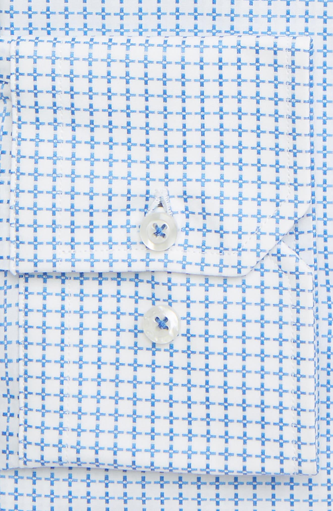 DAVID DONAHUE, Trim Fit Geometric Dress Shirt, Alternate thumbnail 2, color, BLUE