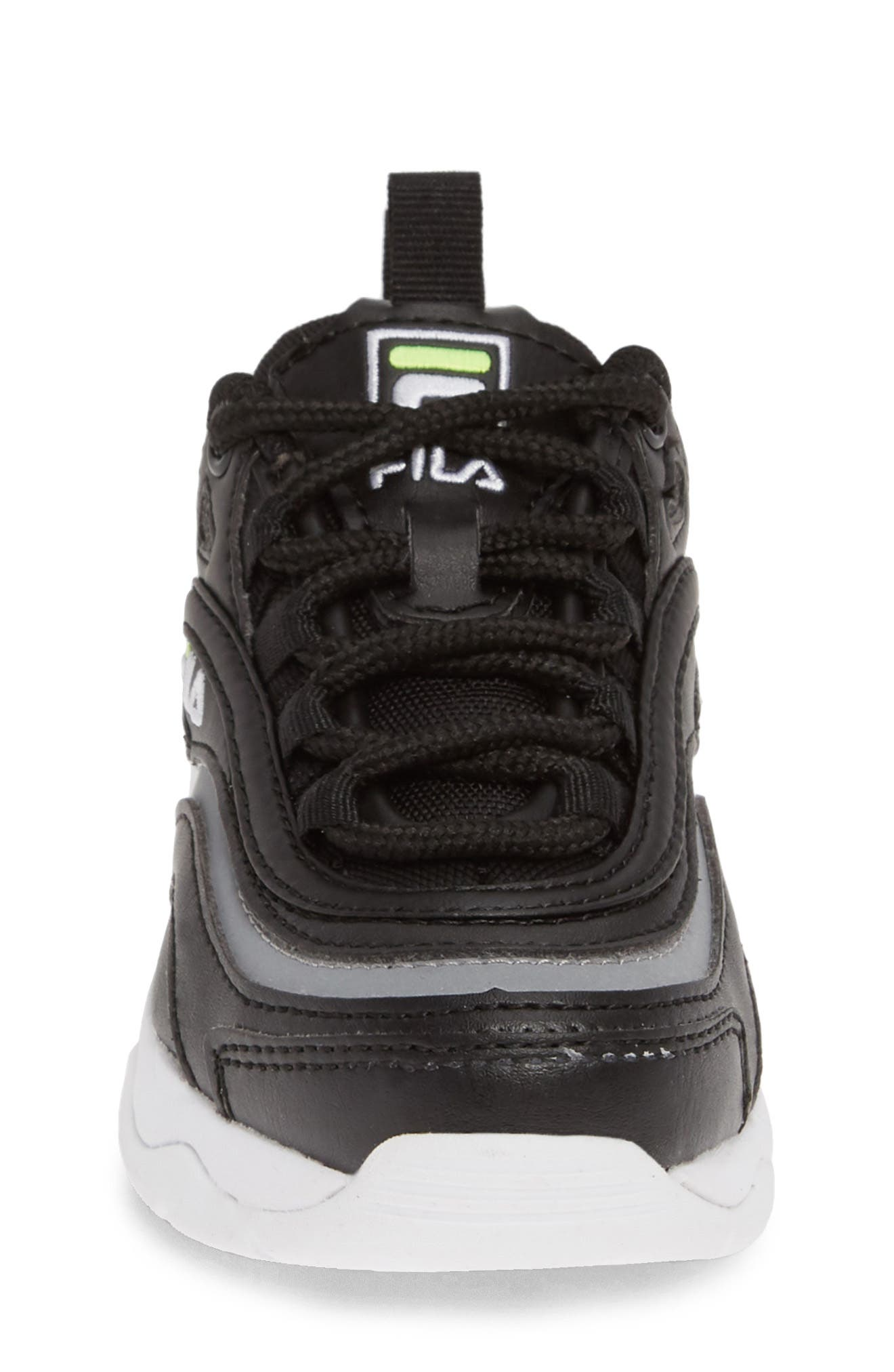 FILA, Ray Sneaker, Alternate thumbnail 4, color, BLACK/ SAFETY YELLOW/ SILVER