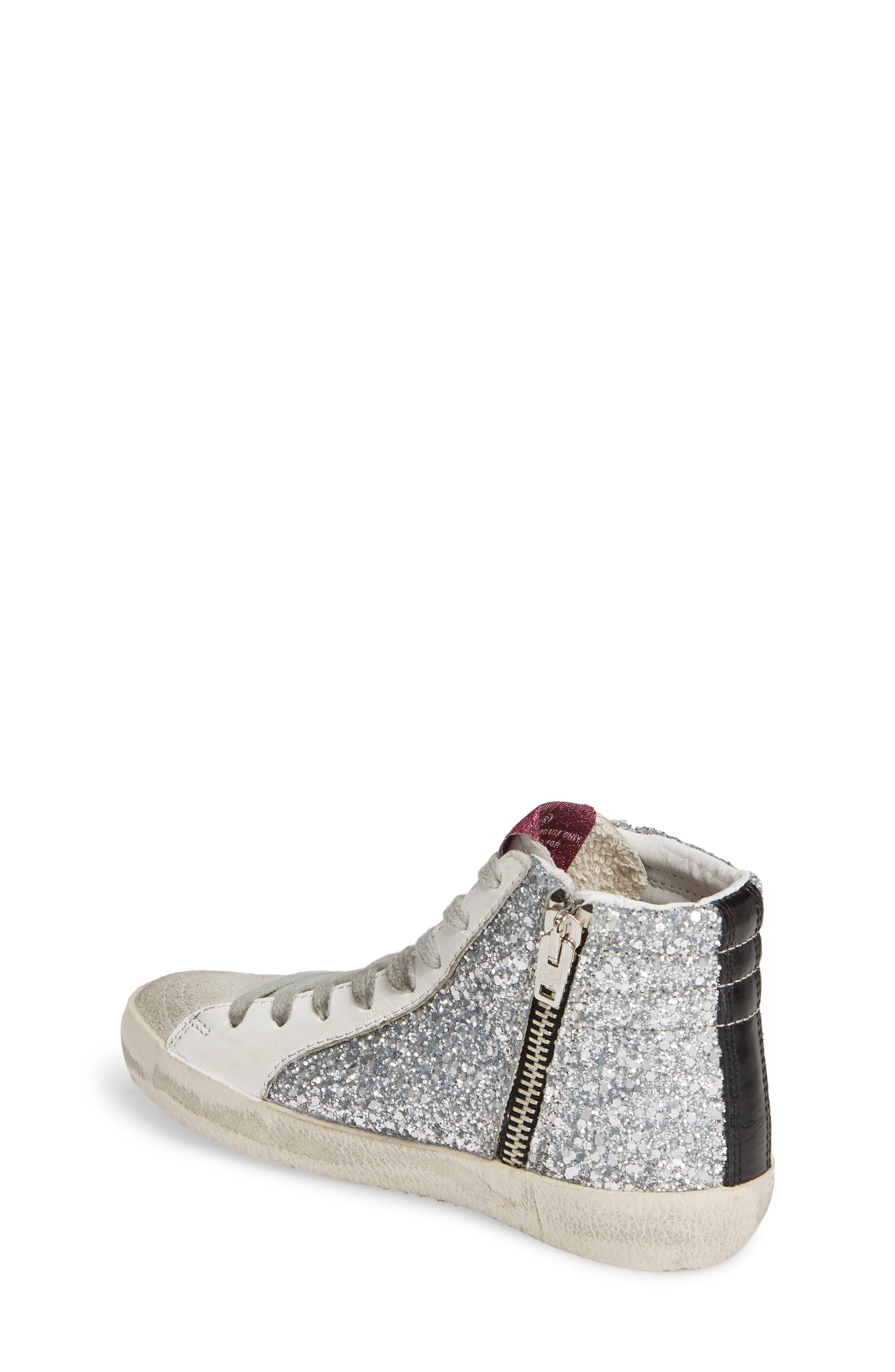 GOLDEN GOOSE, Slide Glitter High Top Sneaker, Alternate thumbnail 2, color, SILVER GLITTER/ BLACK SLIDE