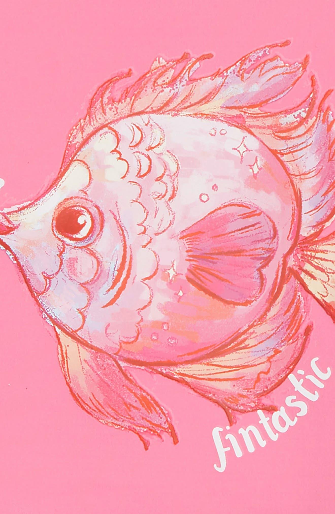 HATLEY, Watercolor Fishies Two-Piece Rashguard Swimsuit, Alternate thumbnail 2, color, PINK
