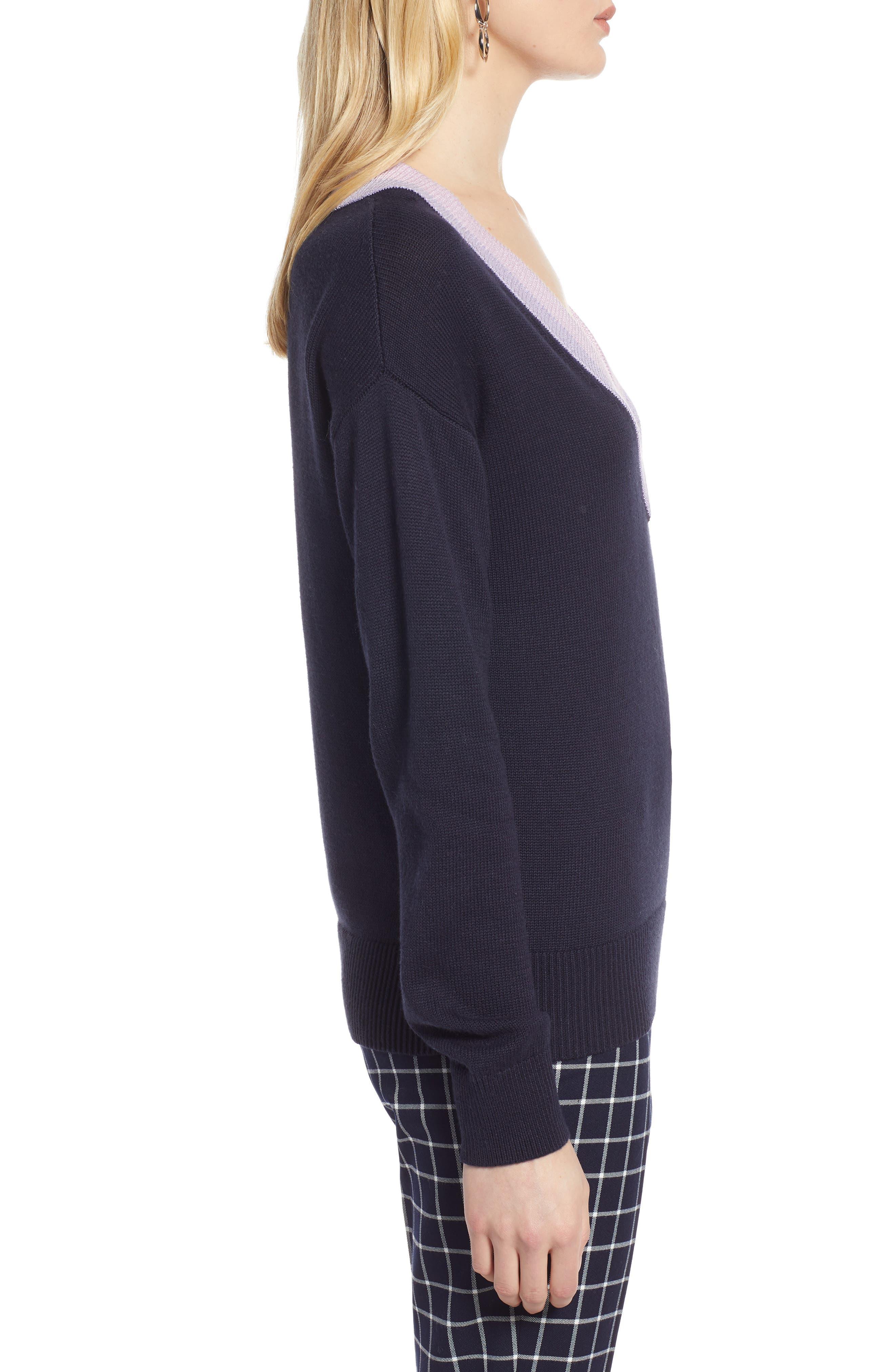 HALOGEN<SUP>®</SUP>, Shimmer V-Neck Sweater, Alternate thumbnail 3, color, NAVY NIGHT