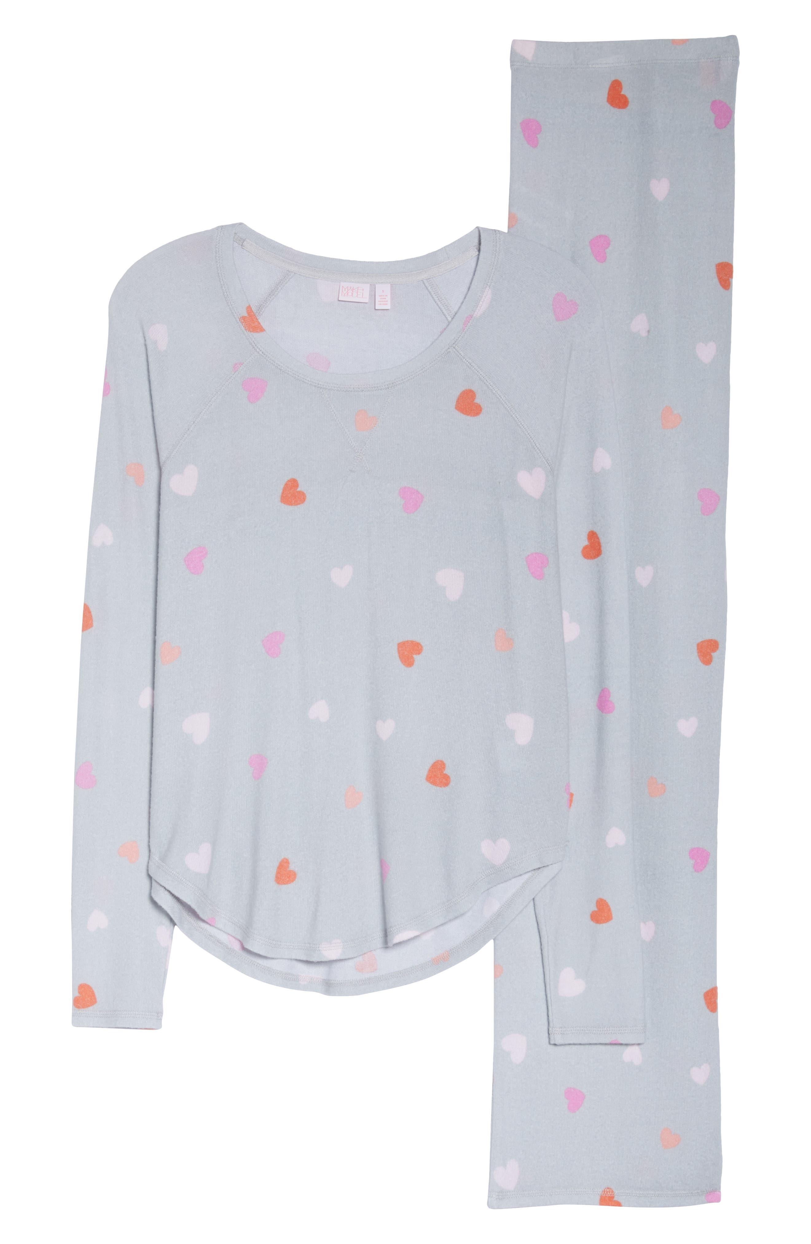 MAKE + MODEL, Knit Girlfriend Pajamas, Alternate thumbnail 6, color, GREY MICRO HEART