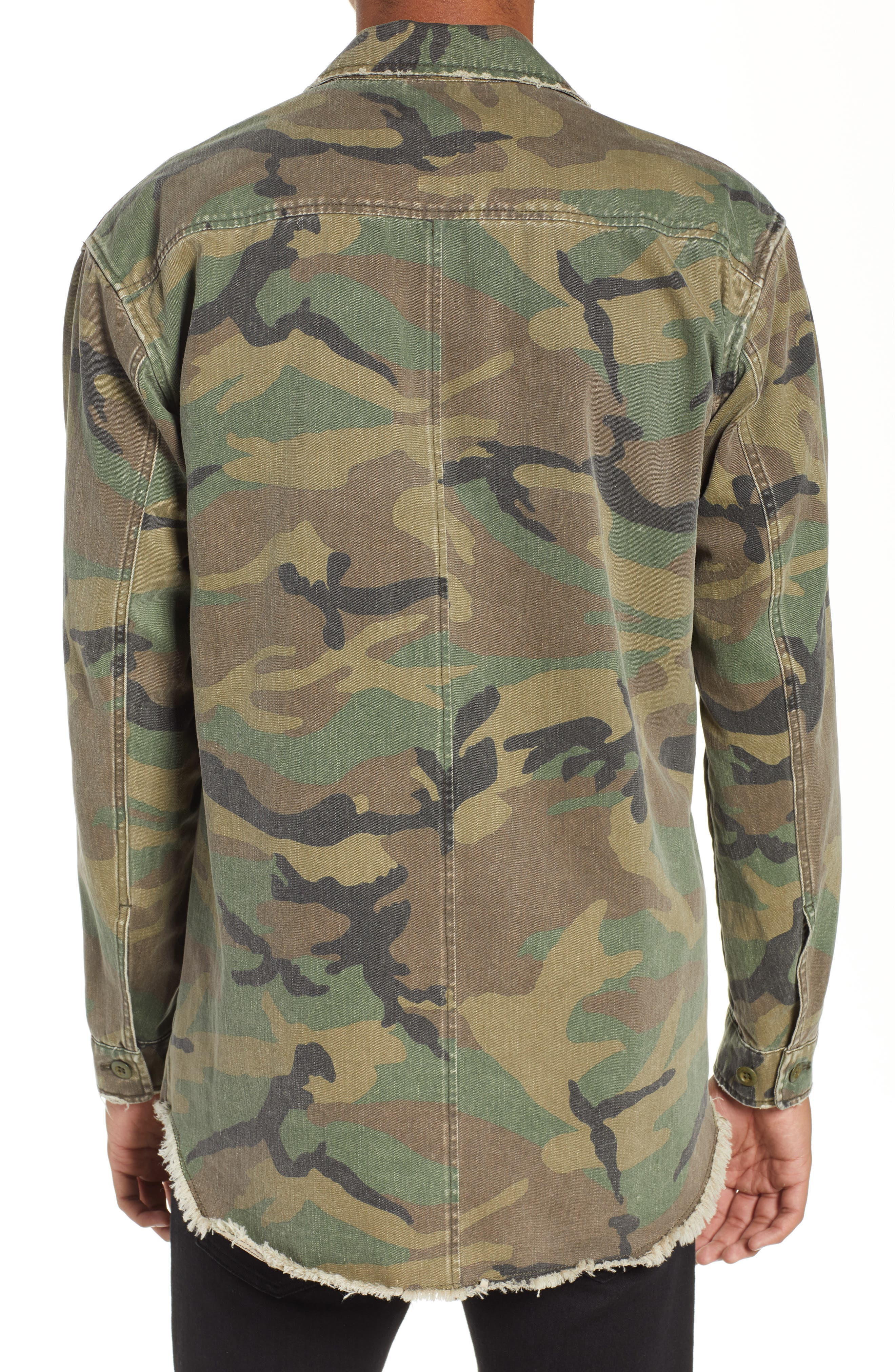 THE KOOPLES, Camou Classic Fit Twill Shirt Jacket, Alternate thumbnail 3, color, CAMOUFLAGE