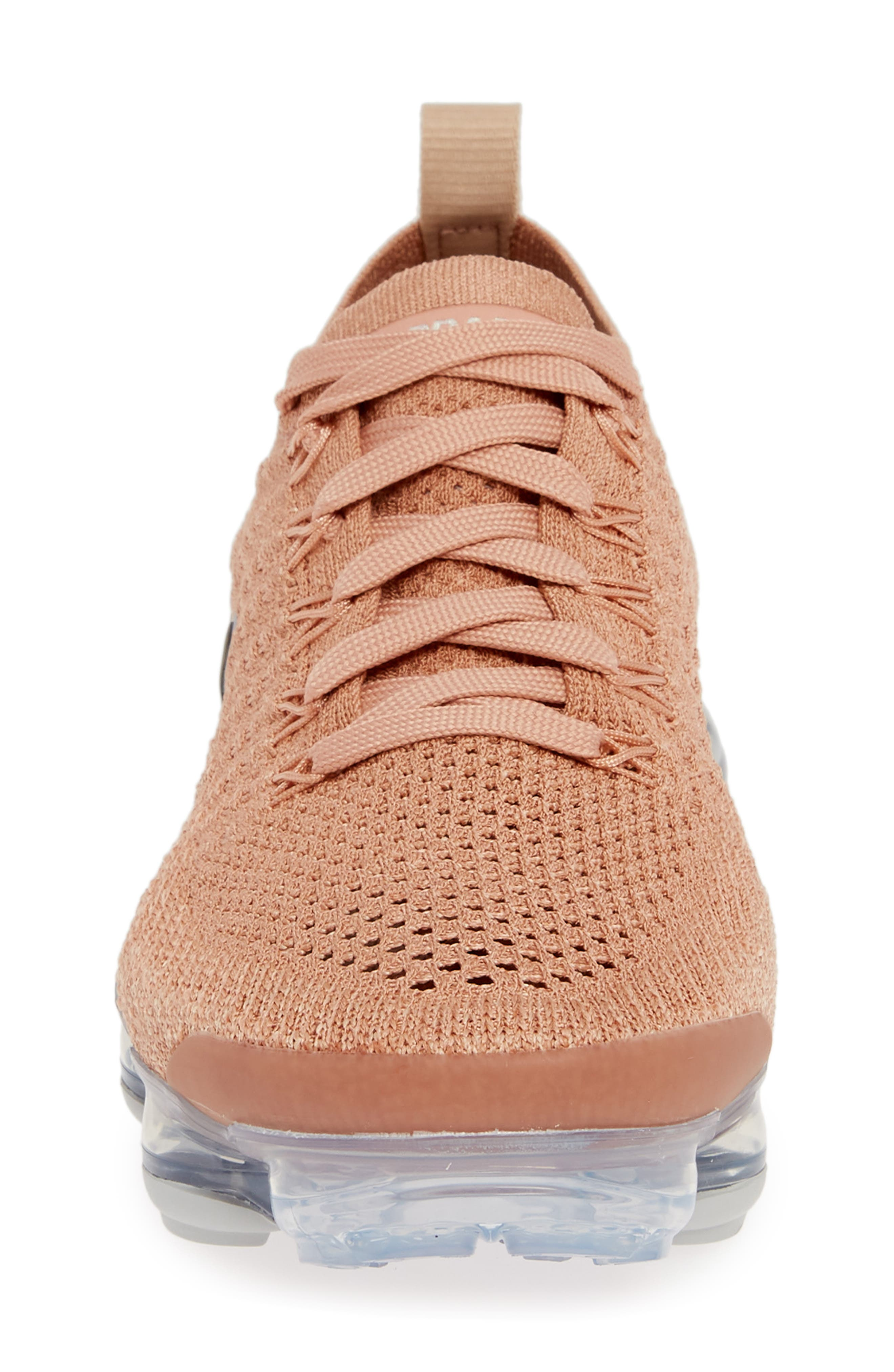 NIKE, Air VaporMax Flyknit 2 Running Shoe, Alternate thumbnail 4, color, ROSE GOLD/ BIO BEIGE