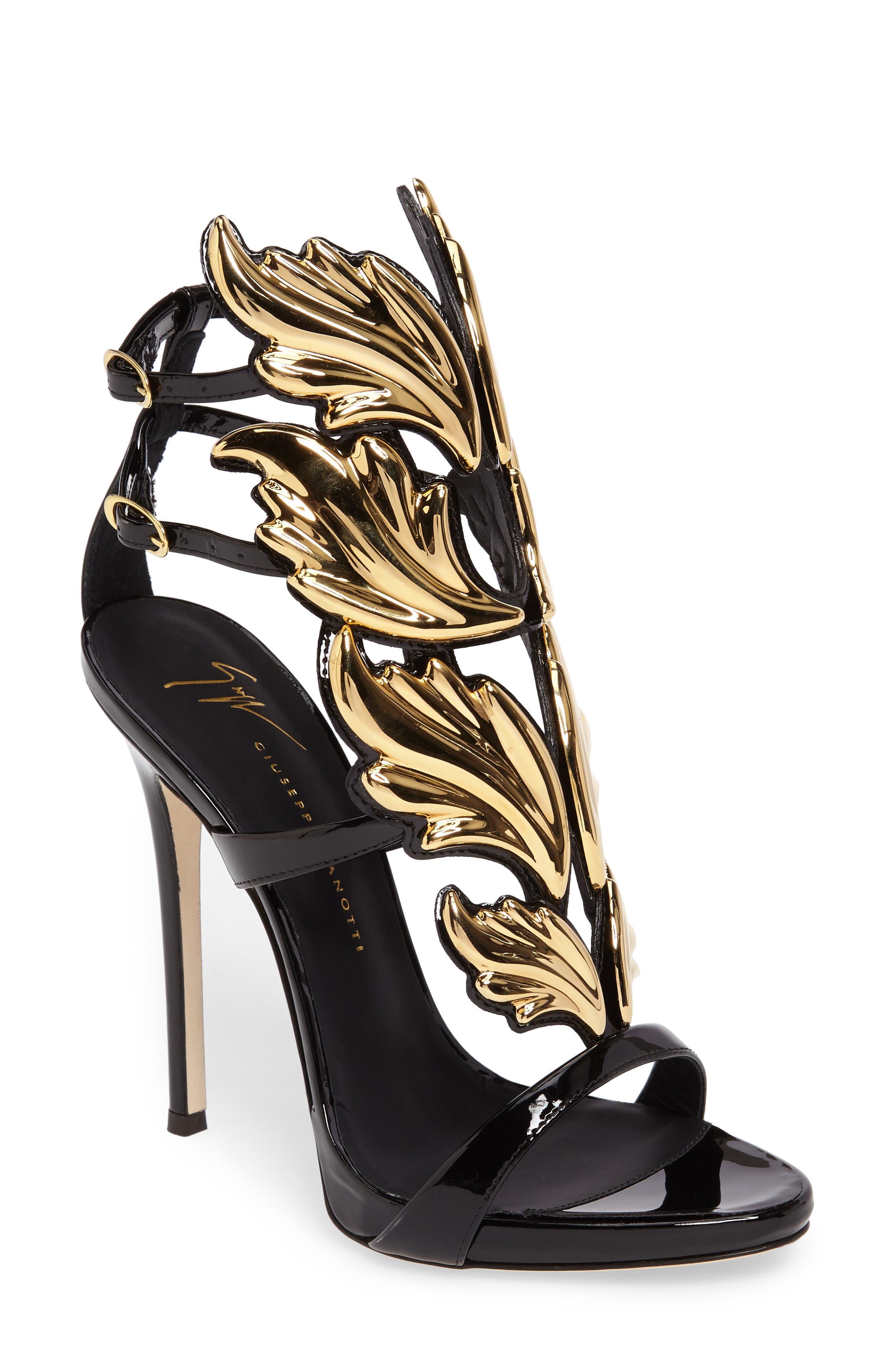 GIUSEPPE ZANOTTI Cruel Wing Sandal, Main, color, BLACK/ GOLD