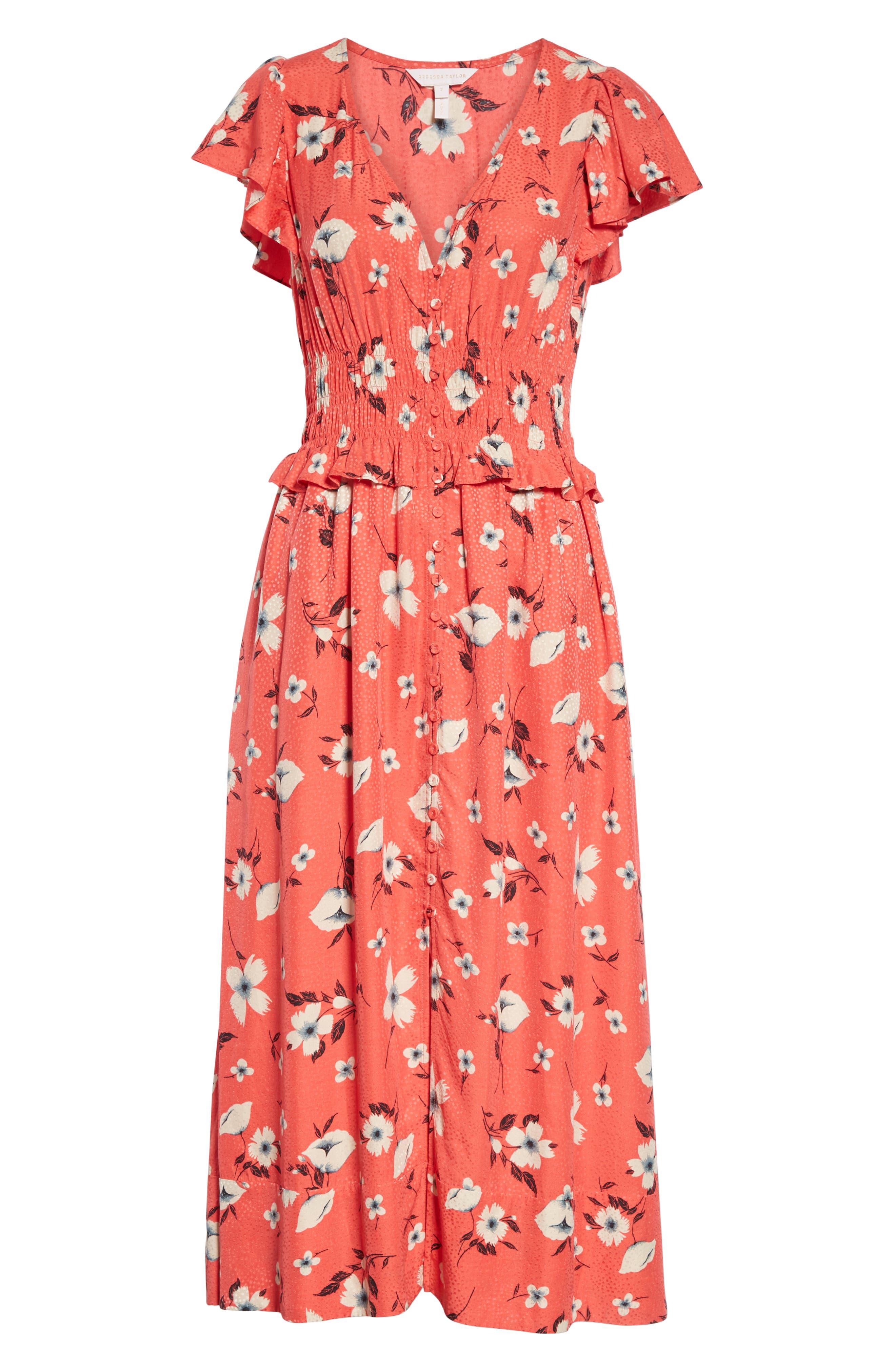 REBECCA TAYLOR, Daniella Floral Jacquard Silk Blend Dress, Alternate thumbnail 7, color, PUNCH COMBO